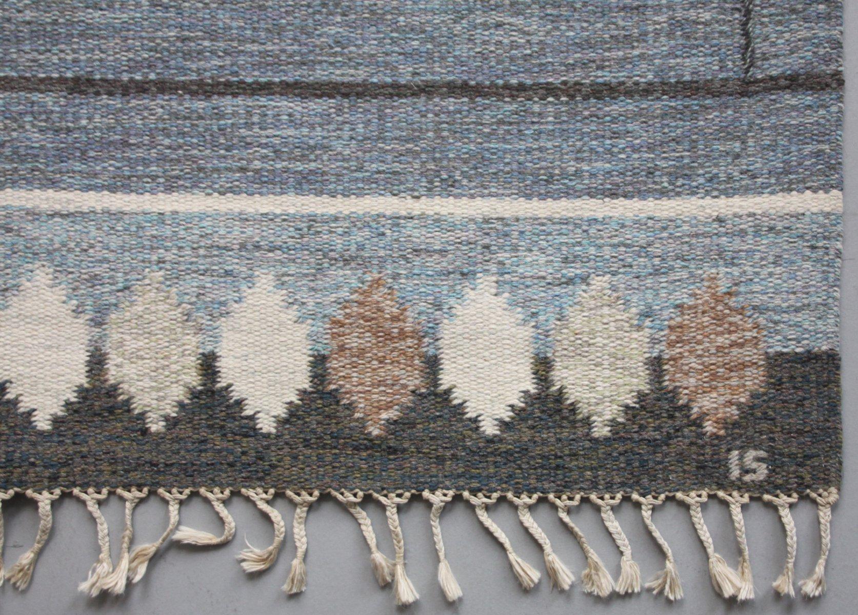 schwedischer grauer r lakan flachgewebe teppich von ingegerd silow bei pamono kaufen. Black Bedroom Furniture Sets. Home Design Ideas