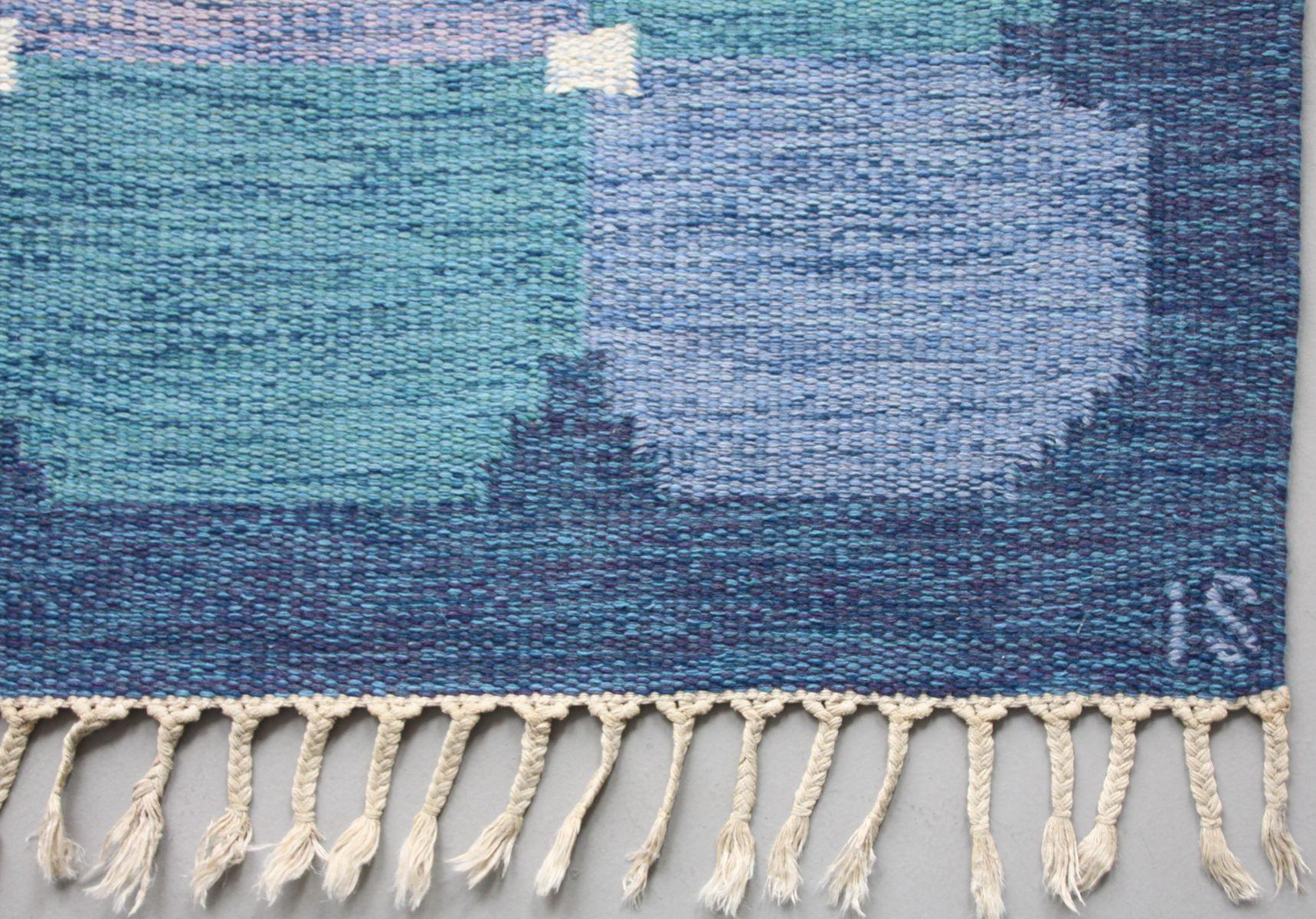 gewebter schwedischer blauer r lakan teppich von ingegerd. Black Bedroom Furniture Sets. Home Design Ideas