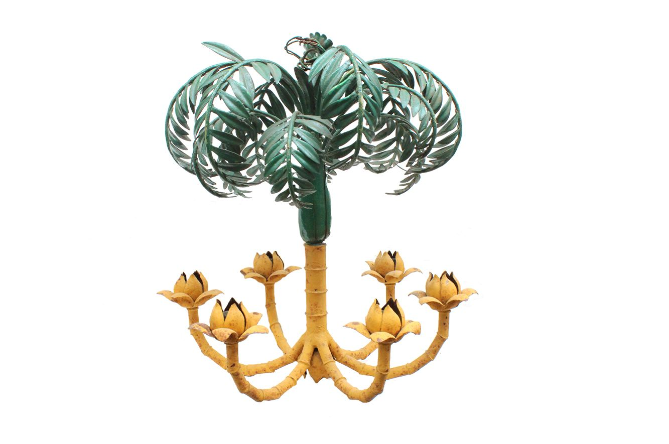 French Faux Bamboo Palm Tree Chandelier, 1930s for sale at Pamono