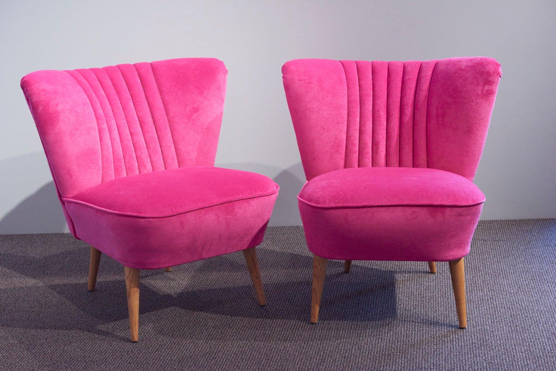 german shell back pink velvet cocktail chairs 1950s set of 2 for sale at pamono. Black Bedroom Furniture Sets. Home Design Ideas