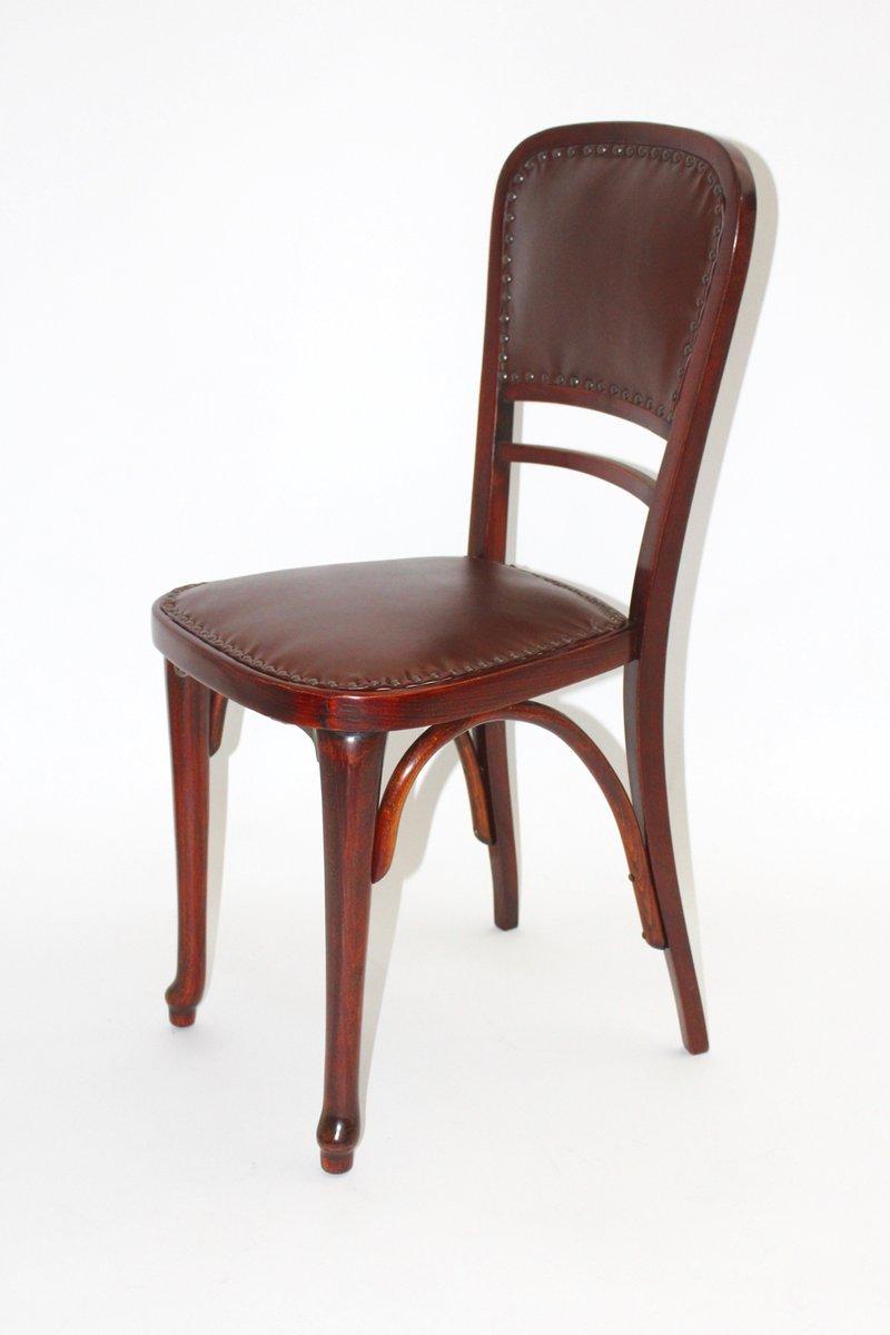 sterreichischer modell nr 491 stuhl aus buche leder. Black Bedroom Furniture Sets. Home Design Ideas