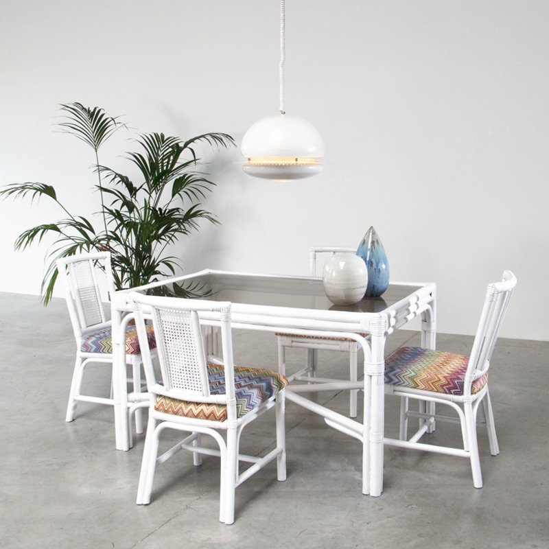 Perfect White Rattan Dining Set With Four Chairs In Missoni Fabric