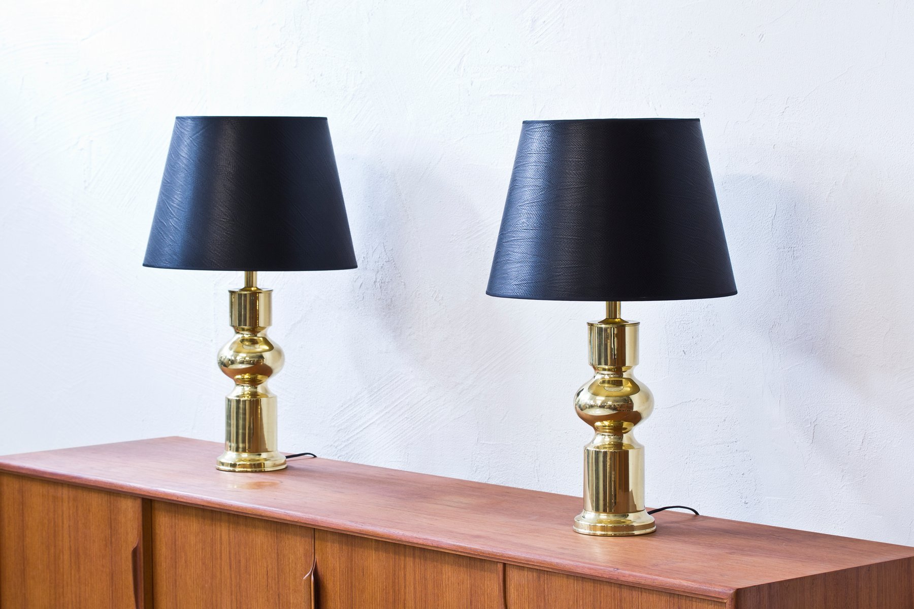 Swedish Brass Table Lamps from Aneta 1960s Set of 2 for sale at