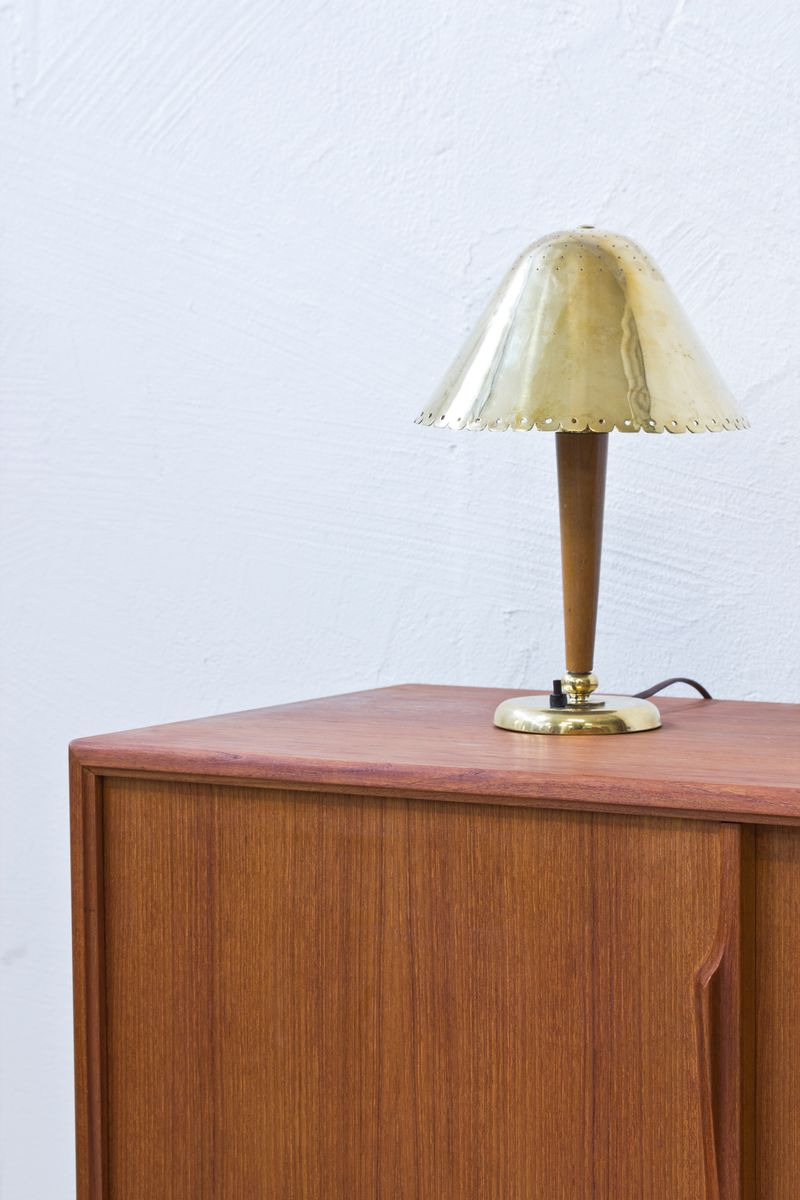 Swedish beech brass table lamp by bohlmarks 1940s for for Lamp table beech