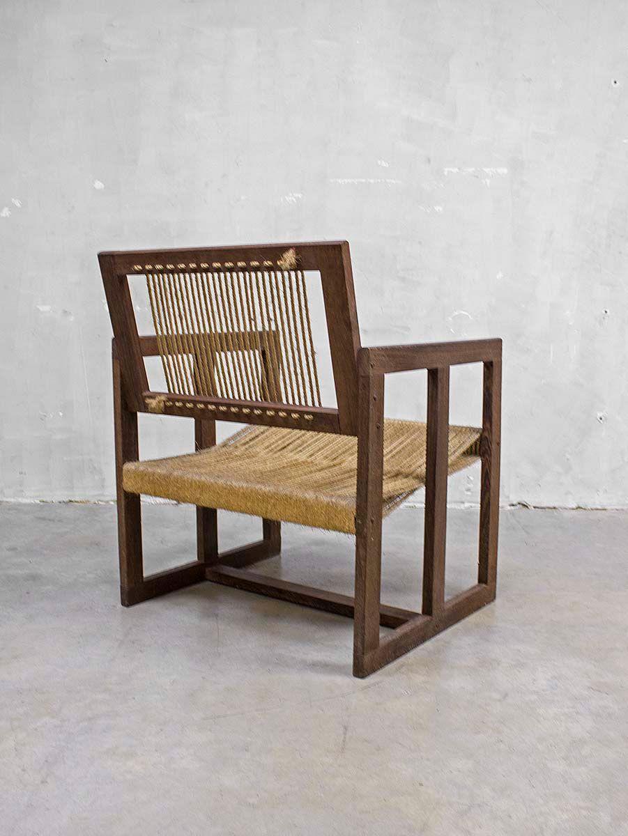 vintage stuhl aus seilgeflecht mit fu hocker bei pamono kaufen. Black Bedroom Furniture Sets. Home Design Ideas