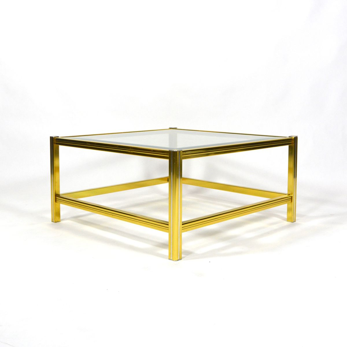 Mid Century Italian Brass And Glass Coffee Table 1970s