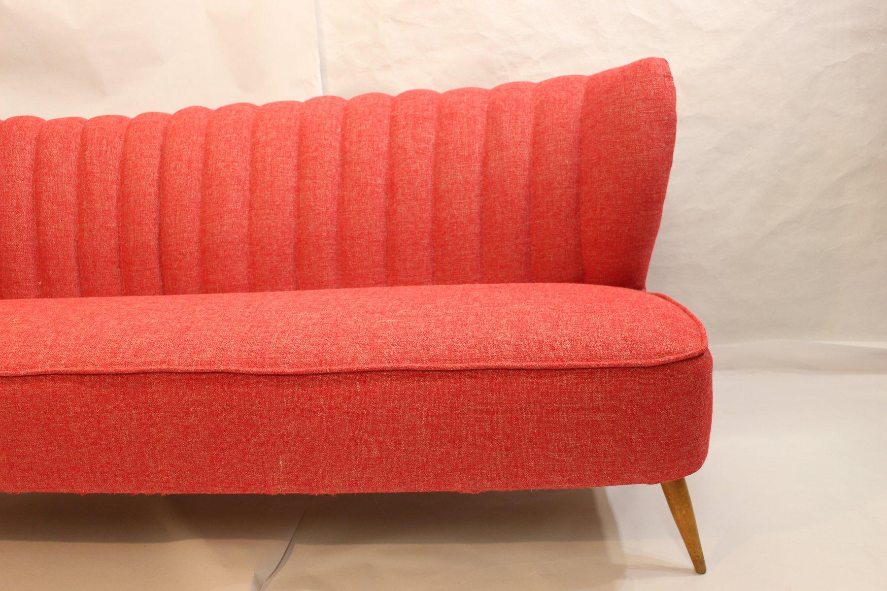 Rotes Vintage Drei Sitzer Sofa Bei Pamono Kaufen