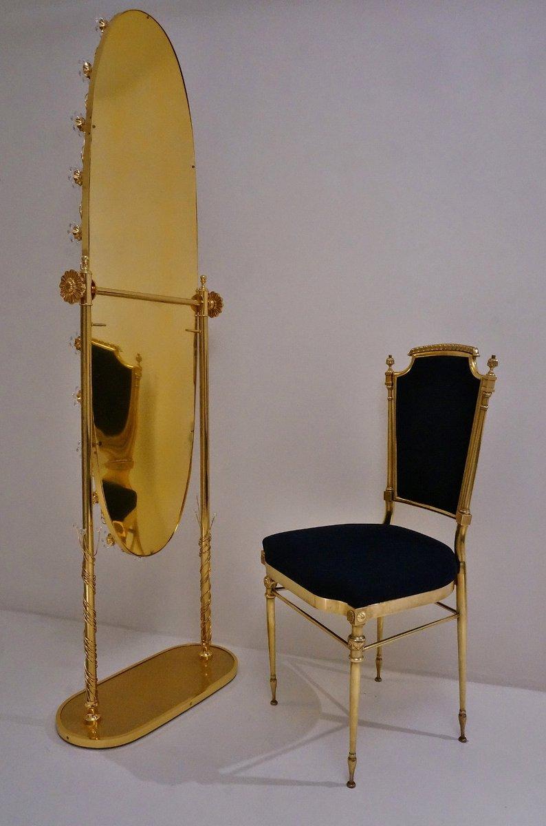 deutscher vintage spiegel mit vergoldetem rahmen und kristallblumen von palwa bei pamono kaufen. Black Bedroom Furniture Sets. Home Design Ideas
