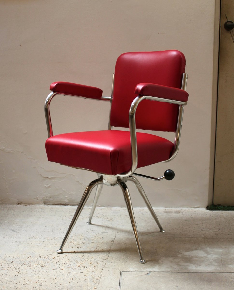 chrome and red leather desk chair 1930s for sale at pamono. Black Bedroom Furniture Sets. Home Design Ideas