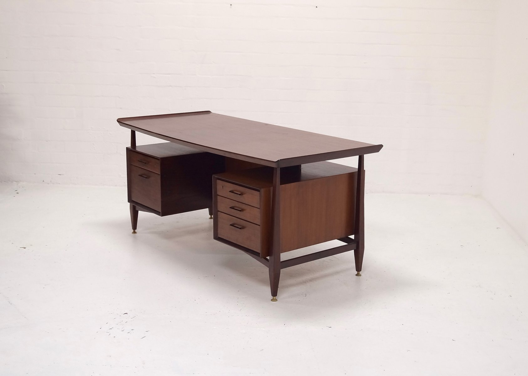 Mid century scandinavian desk with floating table top for Floating desk for sale