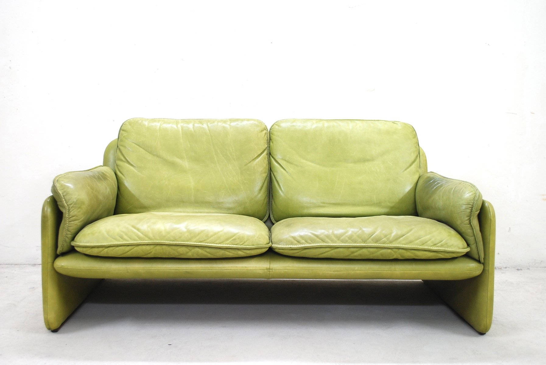 Canap ds 61 vintage en cuir vert citron par de sede en vente sur pamono - Canape cuir vert ...