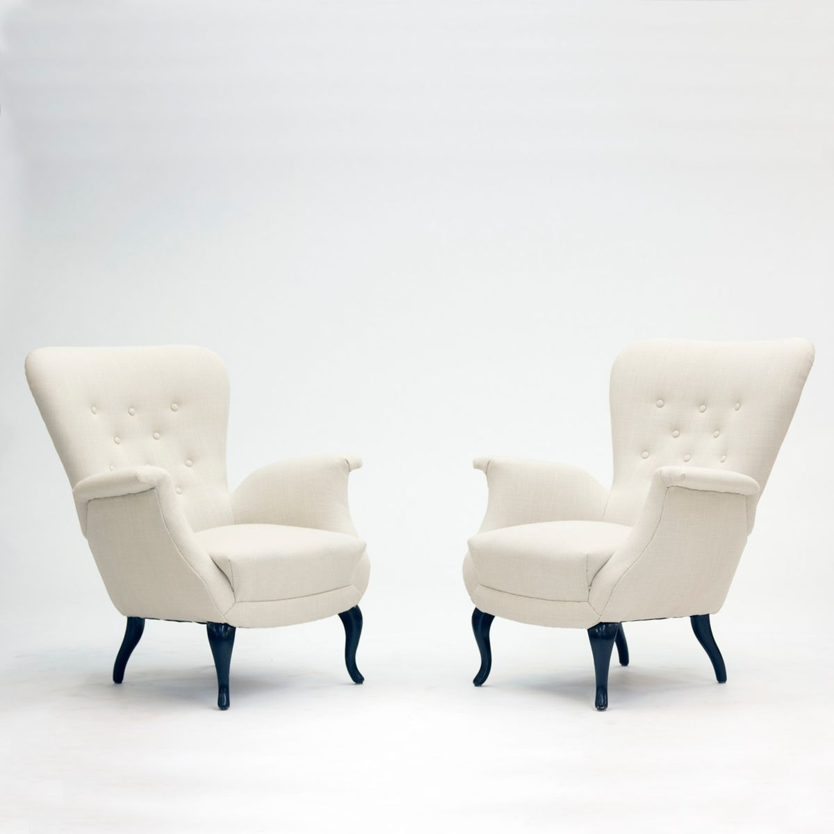 White Lounge Chairs from S M Wincrantz 1950s Set of 2 for sale at Pamono