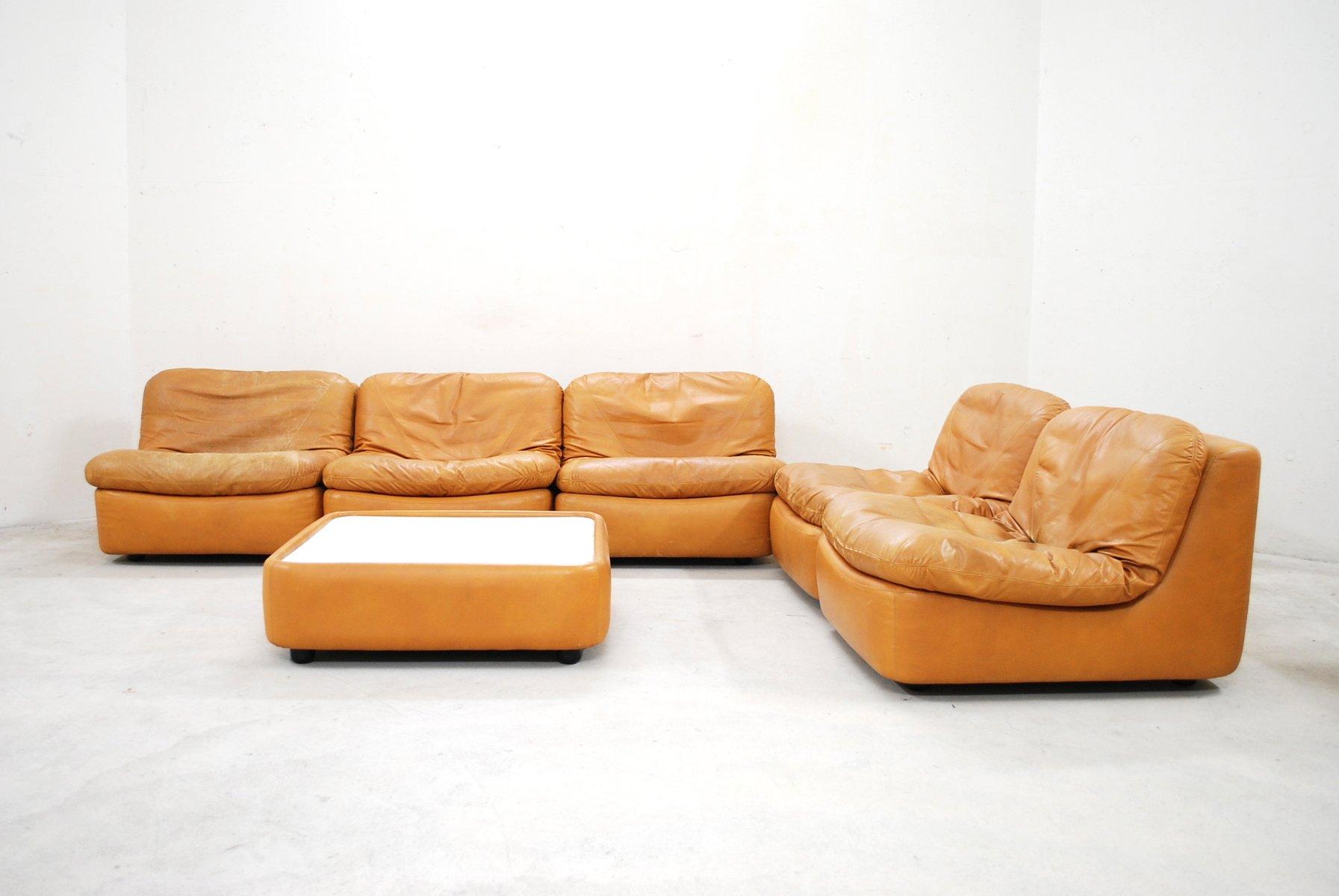 vintage modular cognac leather living room set from. Black Bedroom Furniture Sets. Home Design Ideas