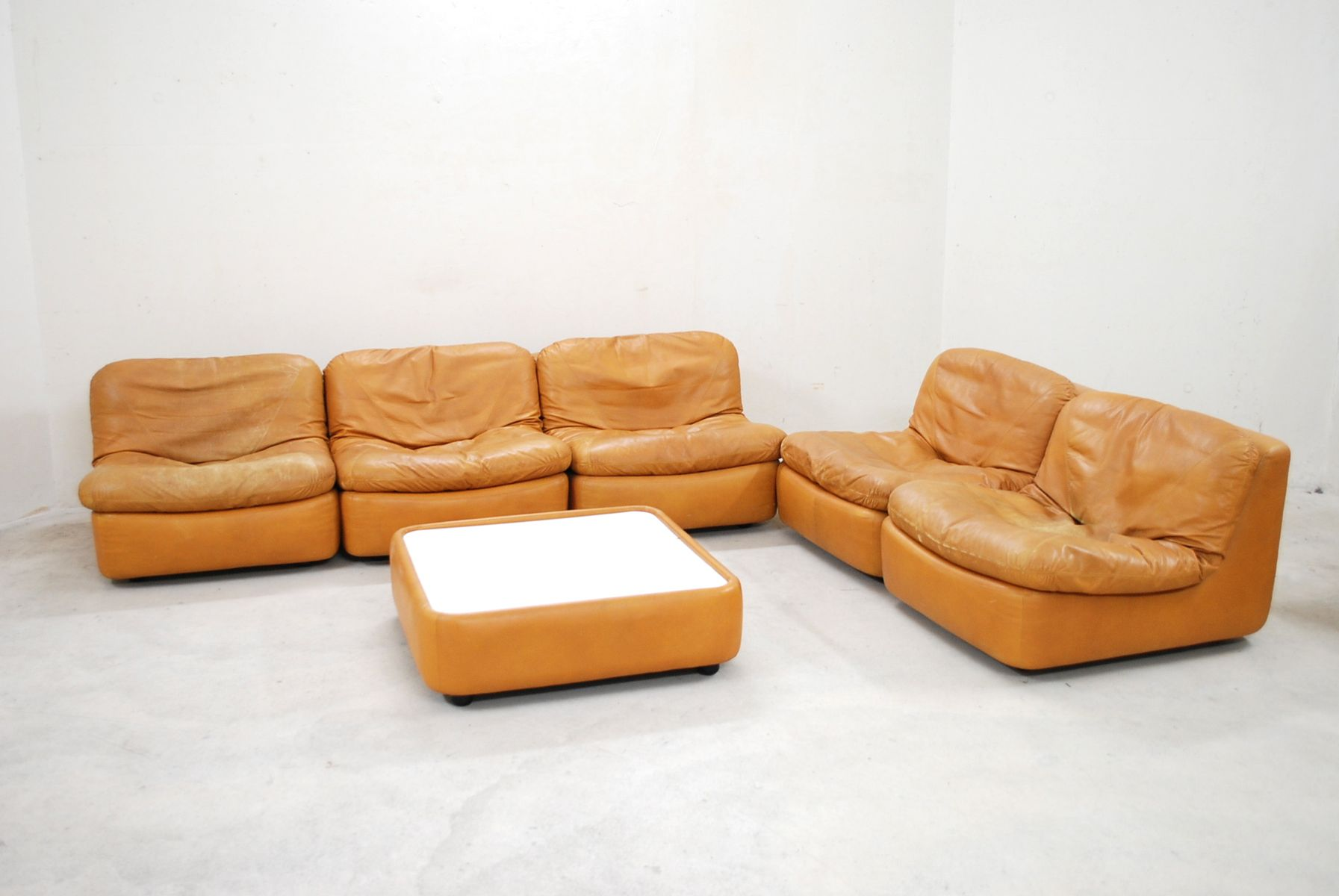 vintage modular cognac leather living room set from