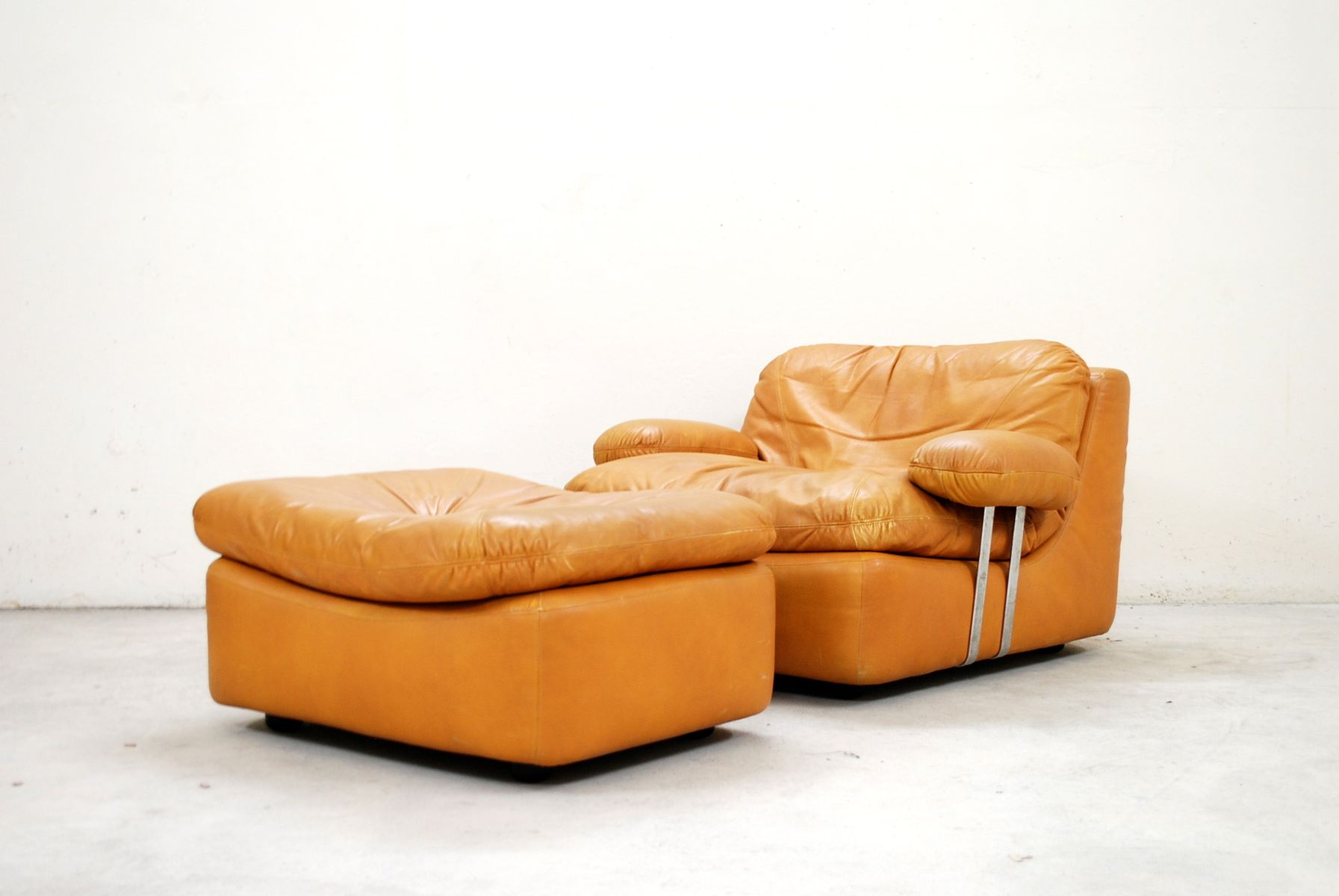 Vintage Cognac Lounge Chair and Ottoman from Dreipunkt