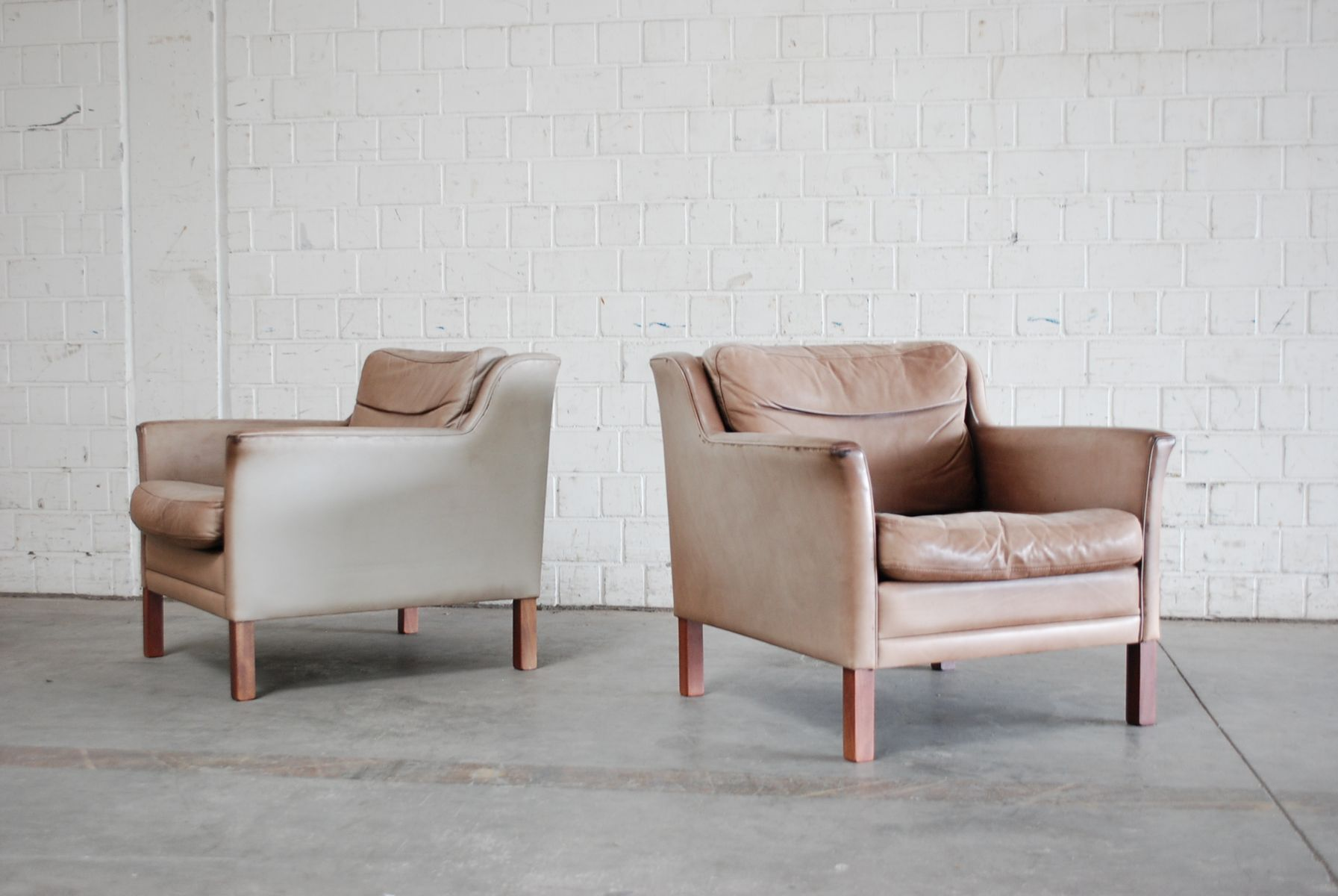 Danish Leather Lounge Armchairs Set of 2 for sale at Pamono
