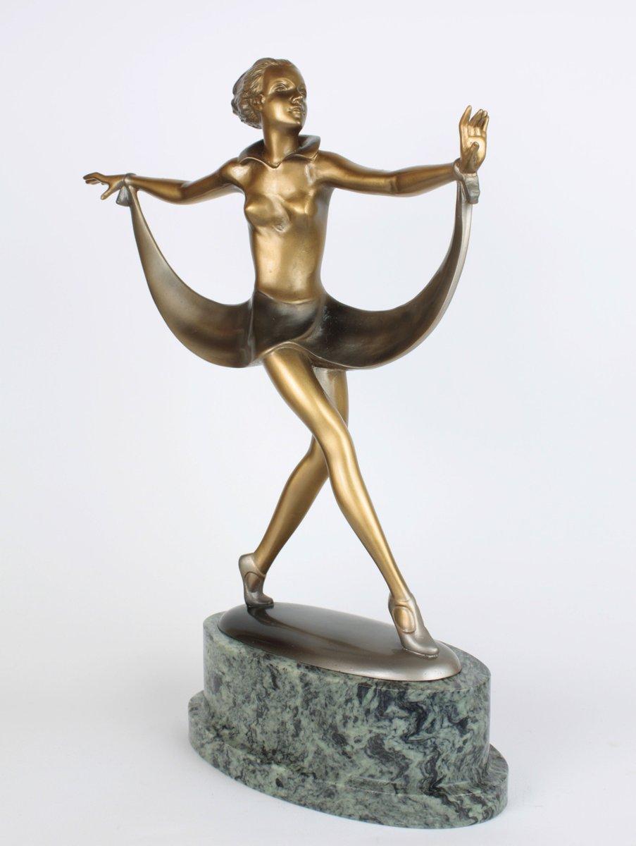 Art deco bronze marble sculpture by josef lorenzl 1930 for Miroir art deco 1930
