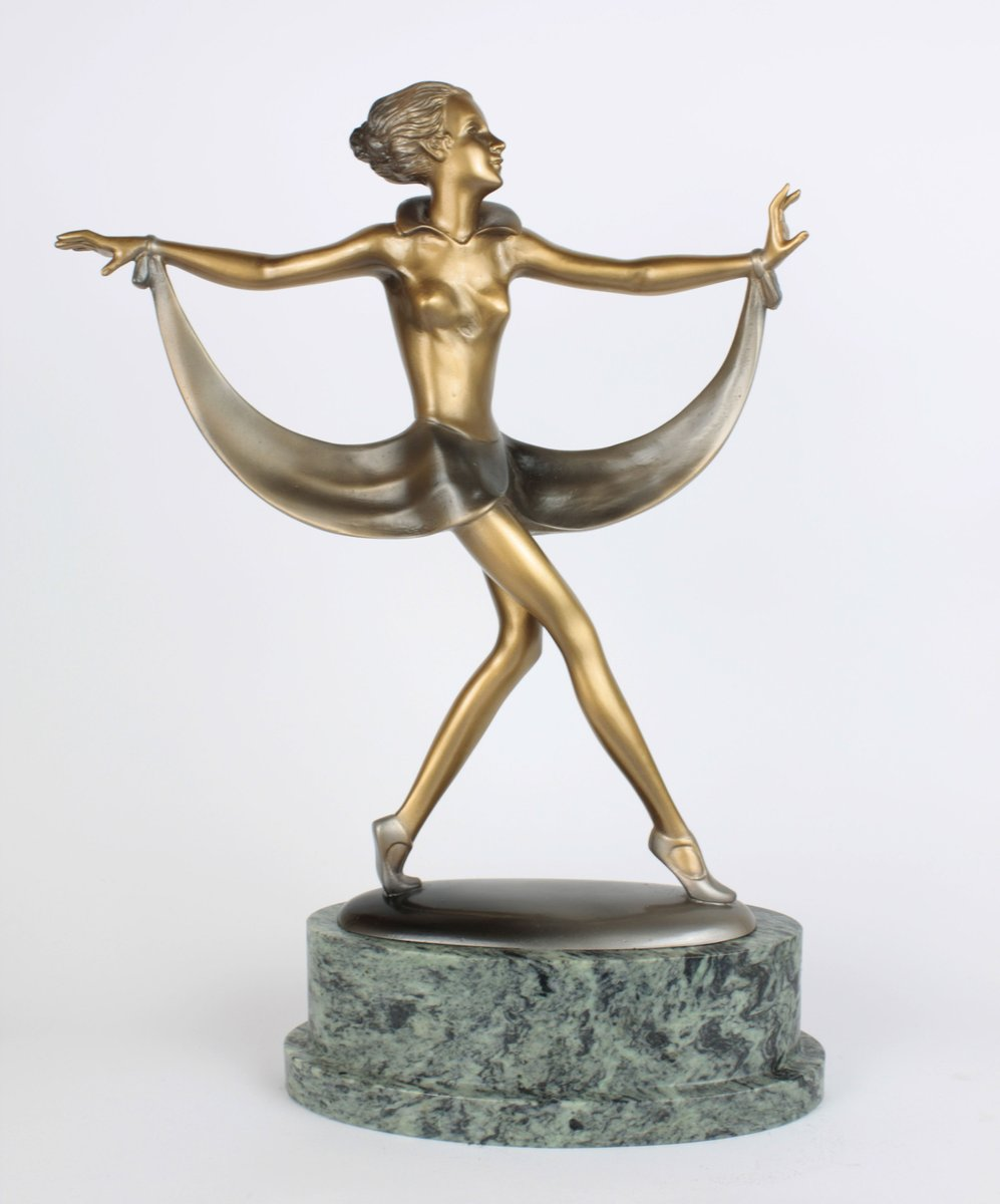 Art deco bronze marble sculpture by josef lorenzl 1930 for Miroir art deco 1930