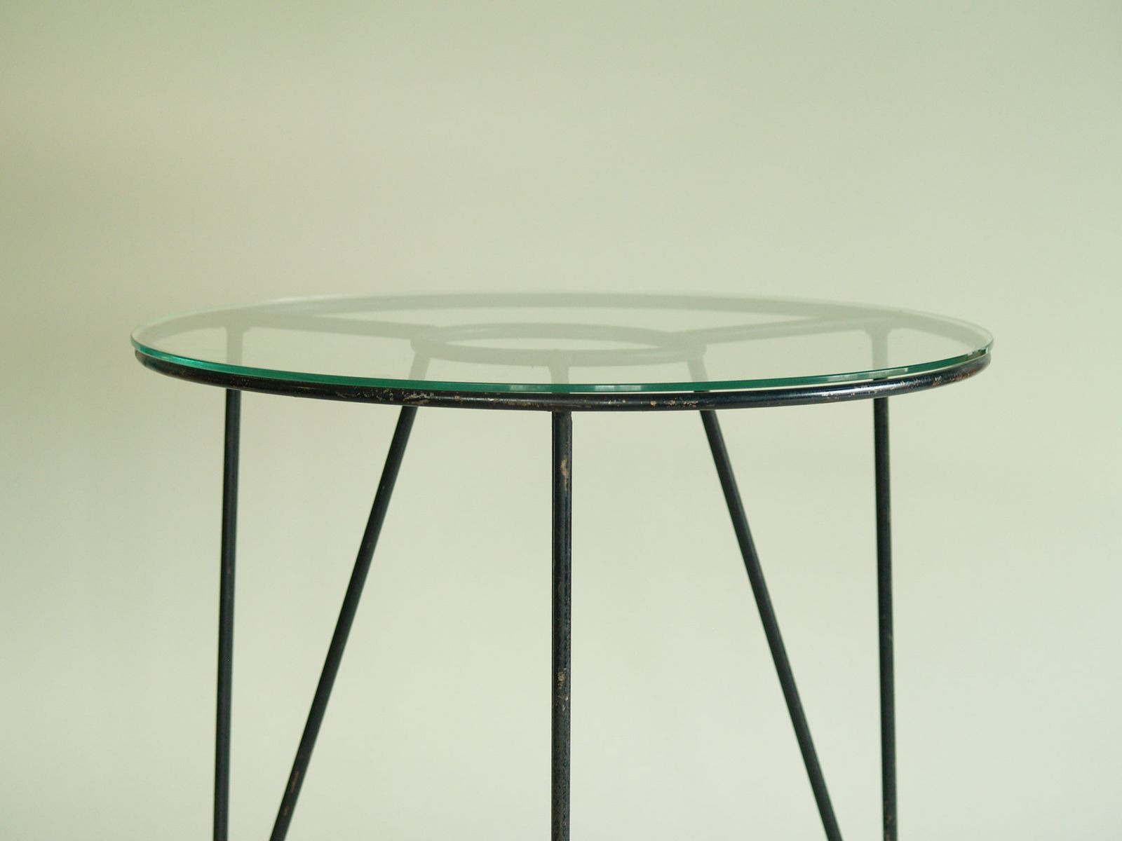 French modernist occasional table with glass top for sale for Glass top occasional tables