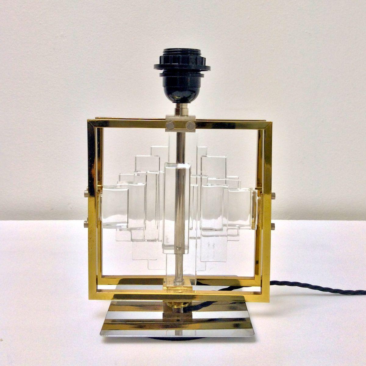 Small Glass Panels Table Lamp By Gaetano Sciolari 1970s