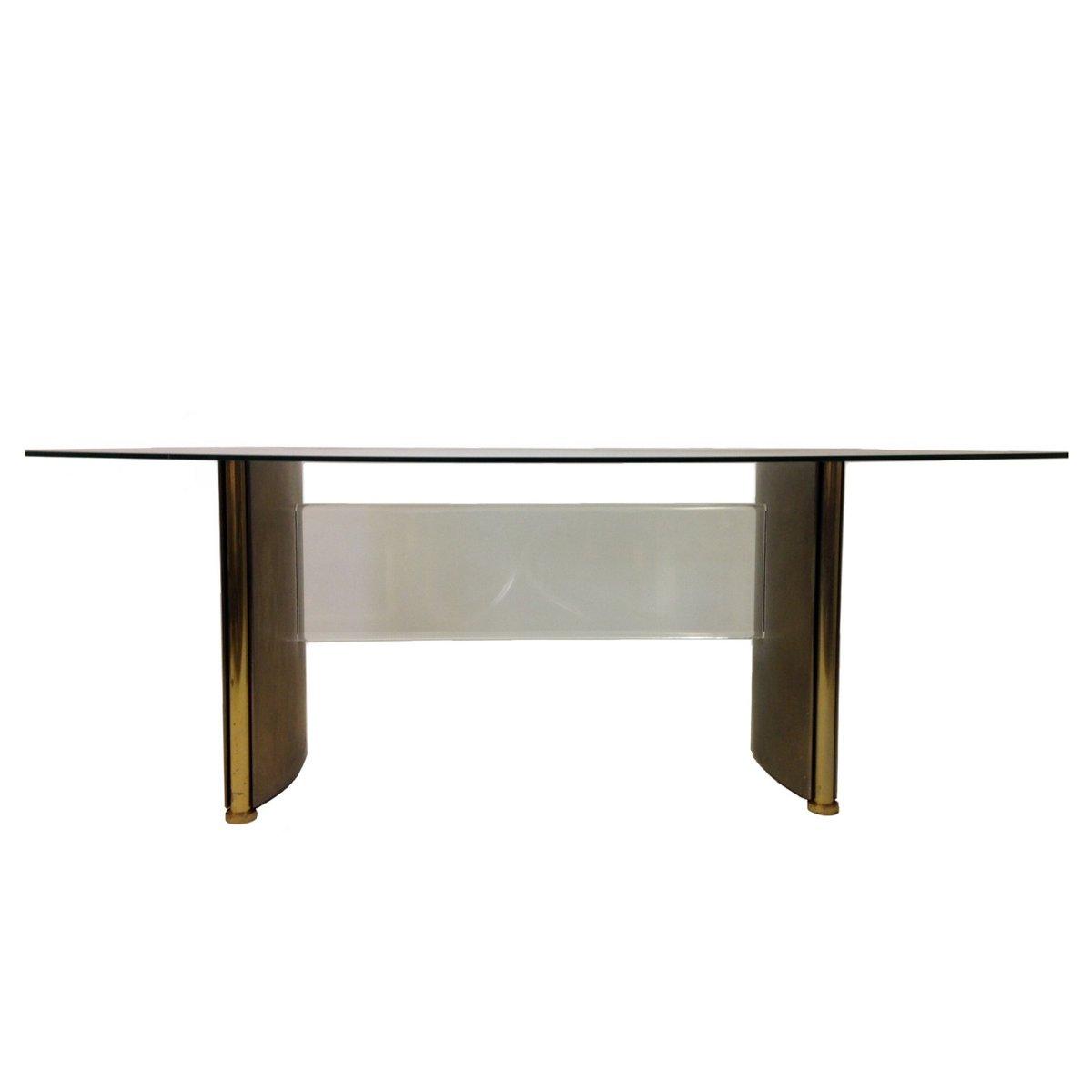 esstisch aus stahl geschwungenem glas 1970er bei pamono kaufen. Black Bedroom Furniture Sets. Home Design Ideas