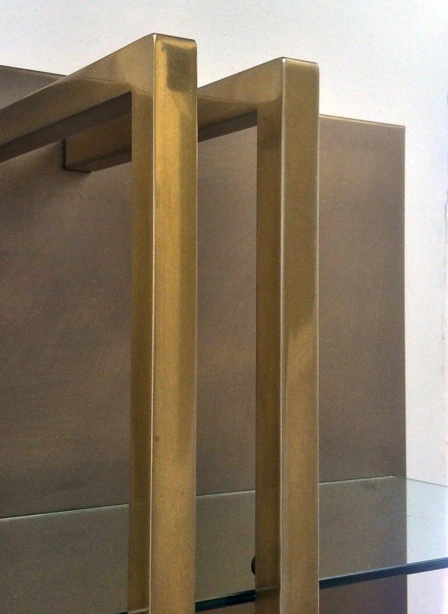 belgisches wandregal aus messing bronze und glas 1970er bei pamono kaufen. Black Bedroom Furniture Sets. Home Design Ideas