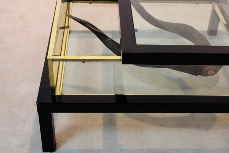 Sliding Top Brass Coffee Table By Romeo Rega For Sale At Pamono