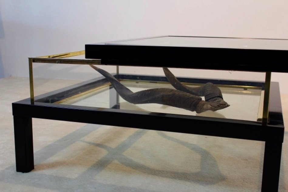 Hollywood Regency Sliding Top Brass Coffee Table by Romeo Rega for