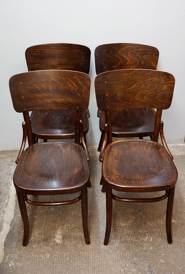 bohemian bentwood dining chairs from fischel 1910s set of 4