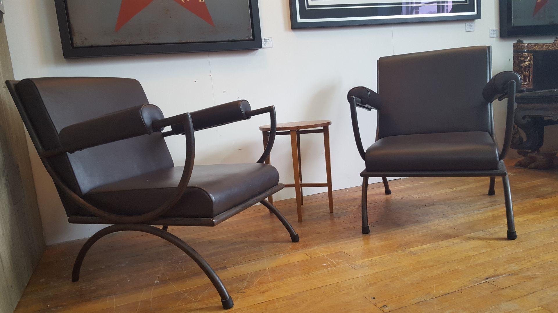 franz sische metall leder lounge st hle 1950er 2er set. Black Bedroom Furniture Sets. Home Design Ideas