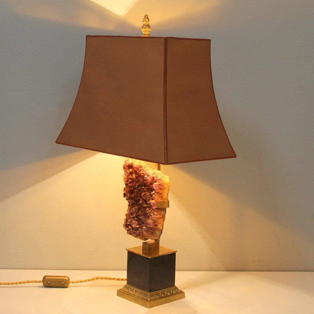 lampe de table de chevet en am thyste belgique en vente sur pamono. Black Bedroom Furniture Sets. Home Design Ideas