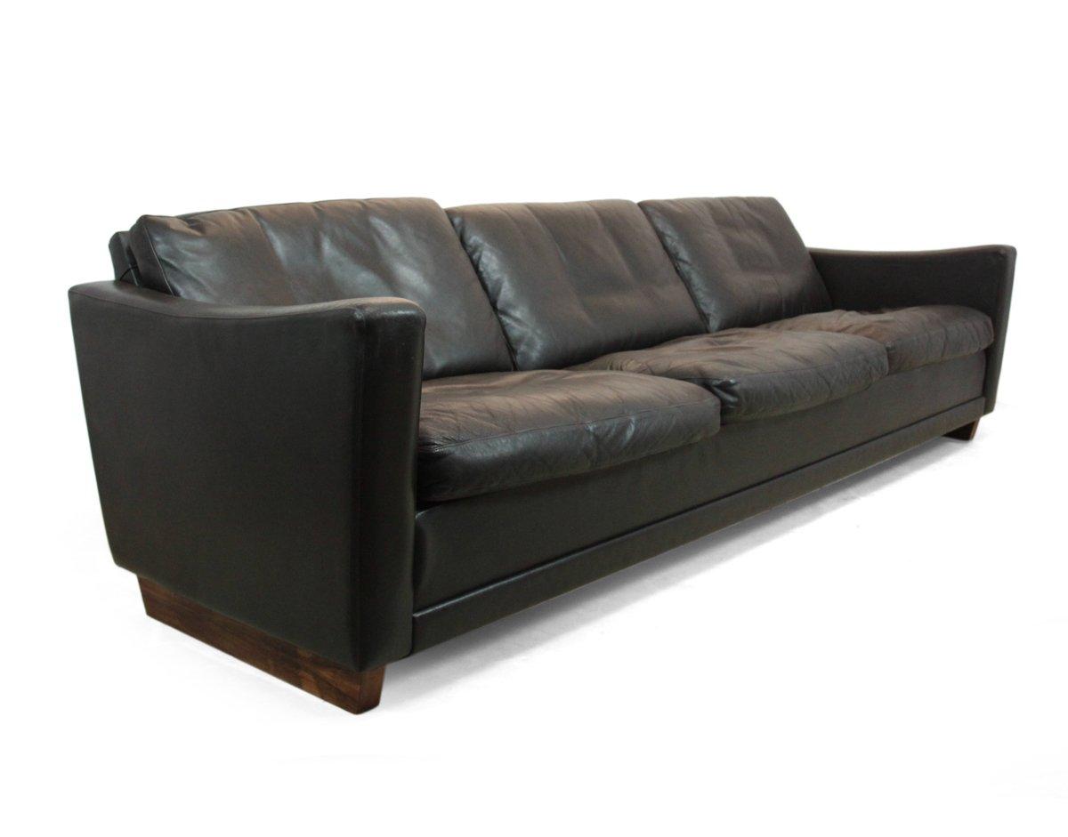 d nisches dunkelbraunes leder palisander sofa 1960er bei pamono kaufen. Black Bedroom Furniture Sets. Home Design Ideas