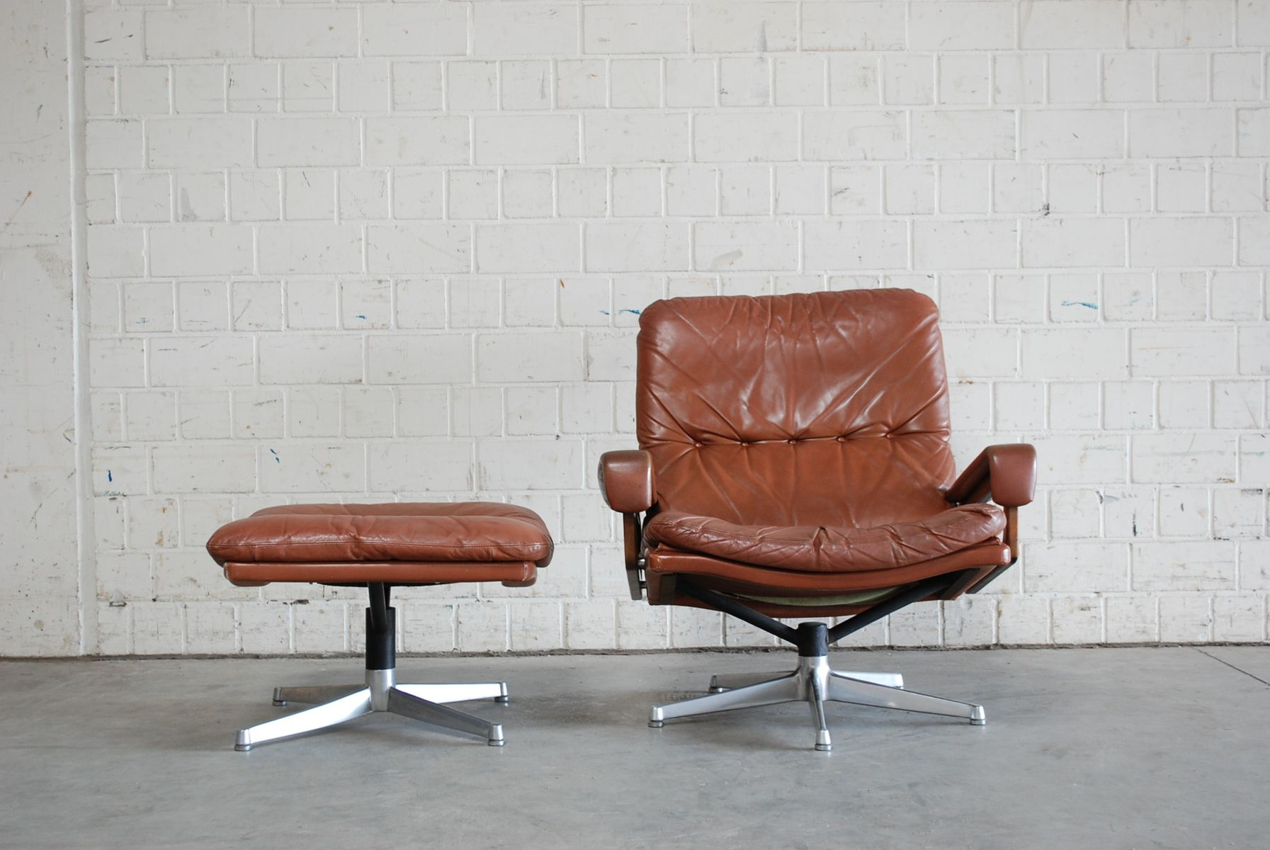 Vintage Swivel Chair with Ottoman by André Vandenbeuck for