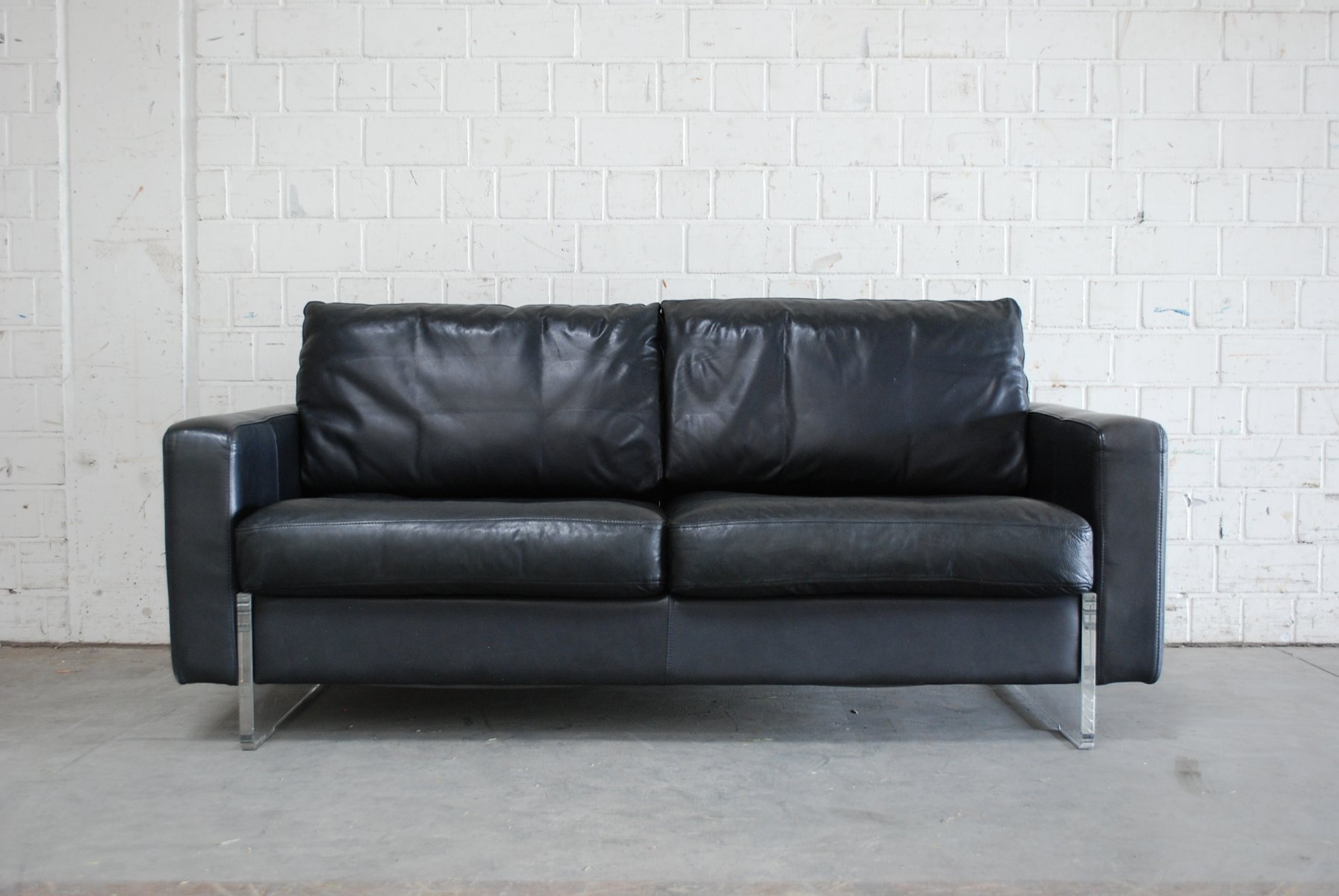 Vintage black leather sofa from lavalina for sale at pamono for Black leather sectional sofa uk