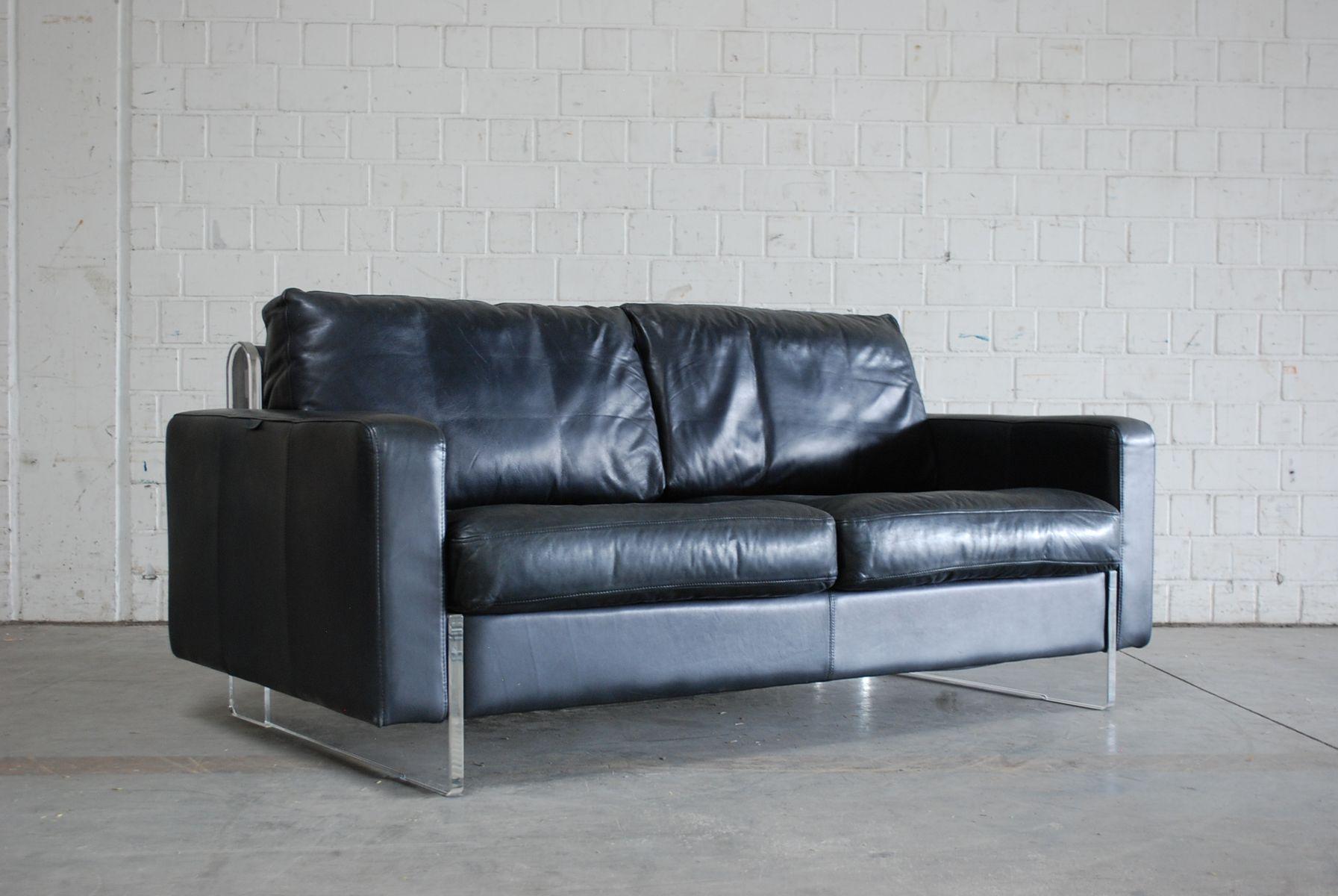 schwarzes vintage ledersofa von lavalina bei pamono kaufen. Black Bedroom Furniture Sets. Home Design Ideas