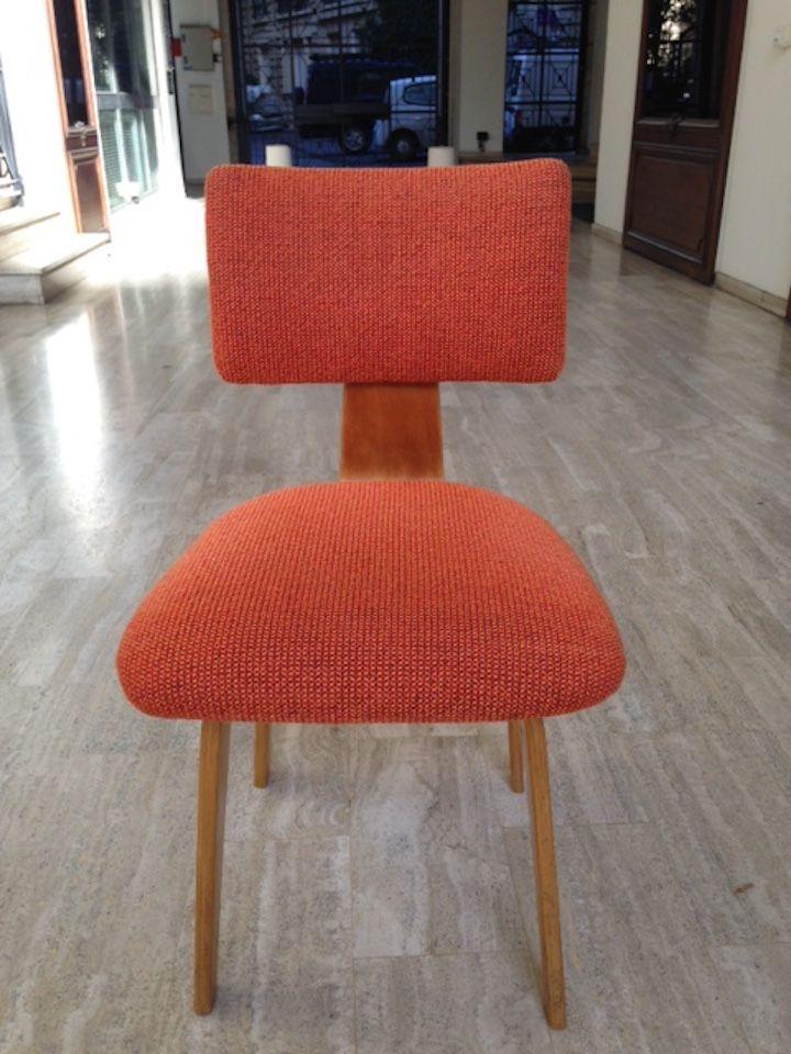 Chaises de salon mid century orange par cees braakman pour pastoe set de 4 en vente sur pamono - Chaise salon de jardin orange ...