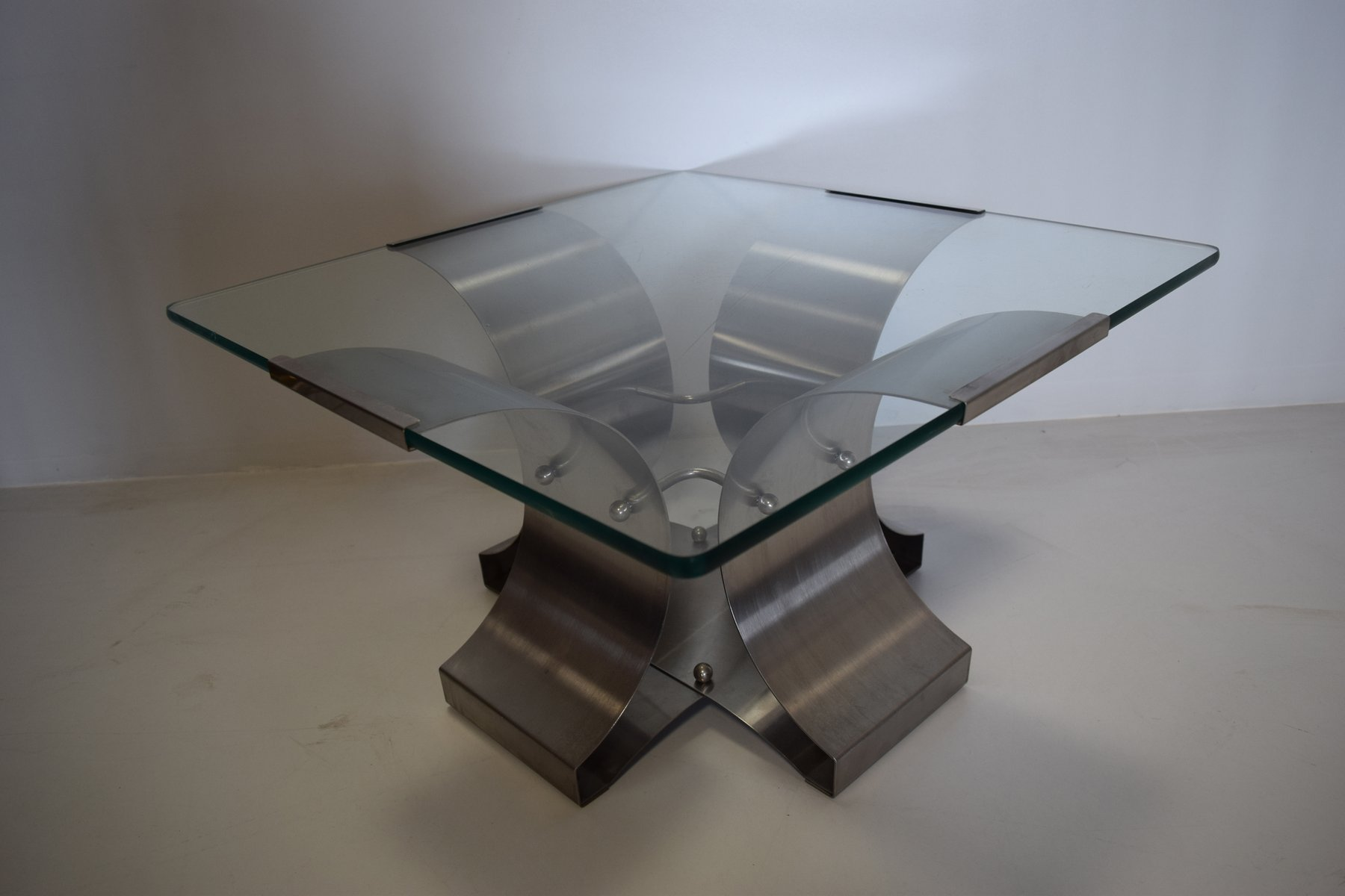 French steel and glass coffee table by fran ois monnet 1970s for sale at pamono Steel and glass coffee table