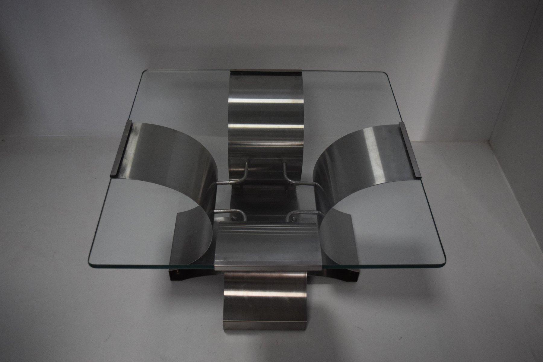 Französischer Stahl & Glas Couchtisch von François Monnet ...