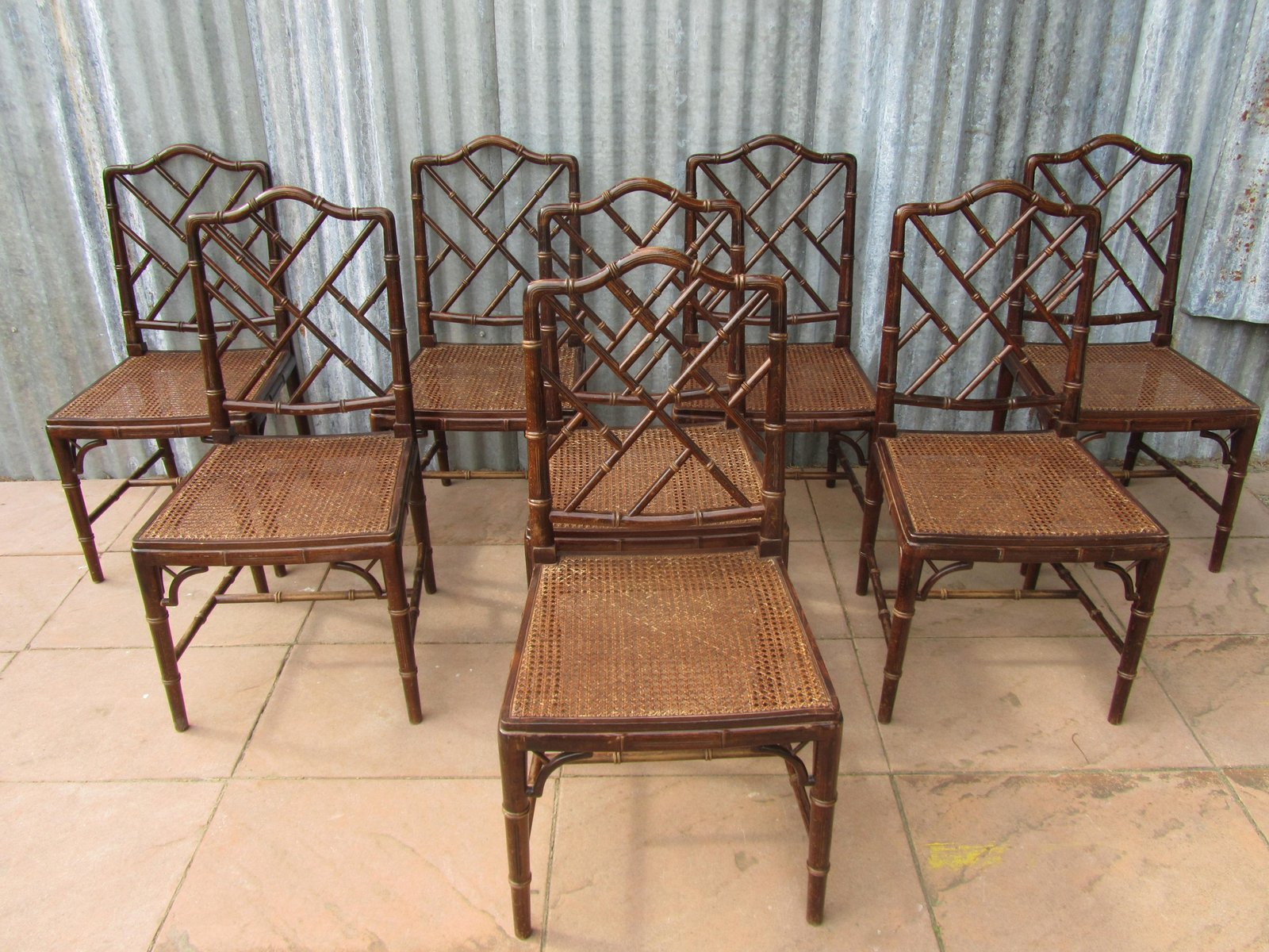 Mid century faux bamboo dining chairs set of 8 for sale for Bamboo furniture uk