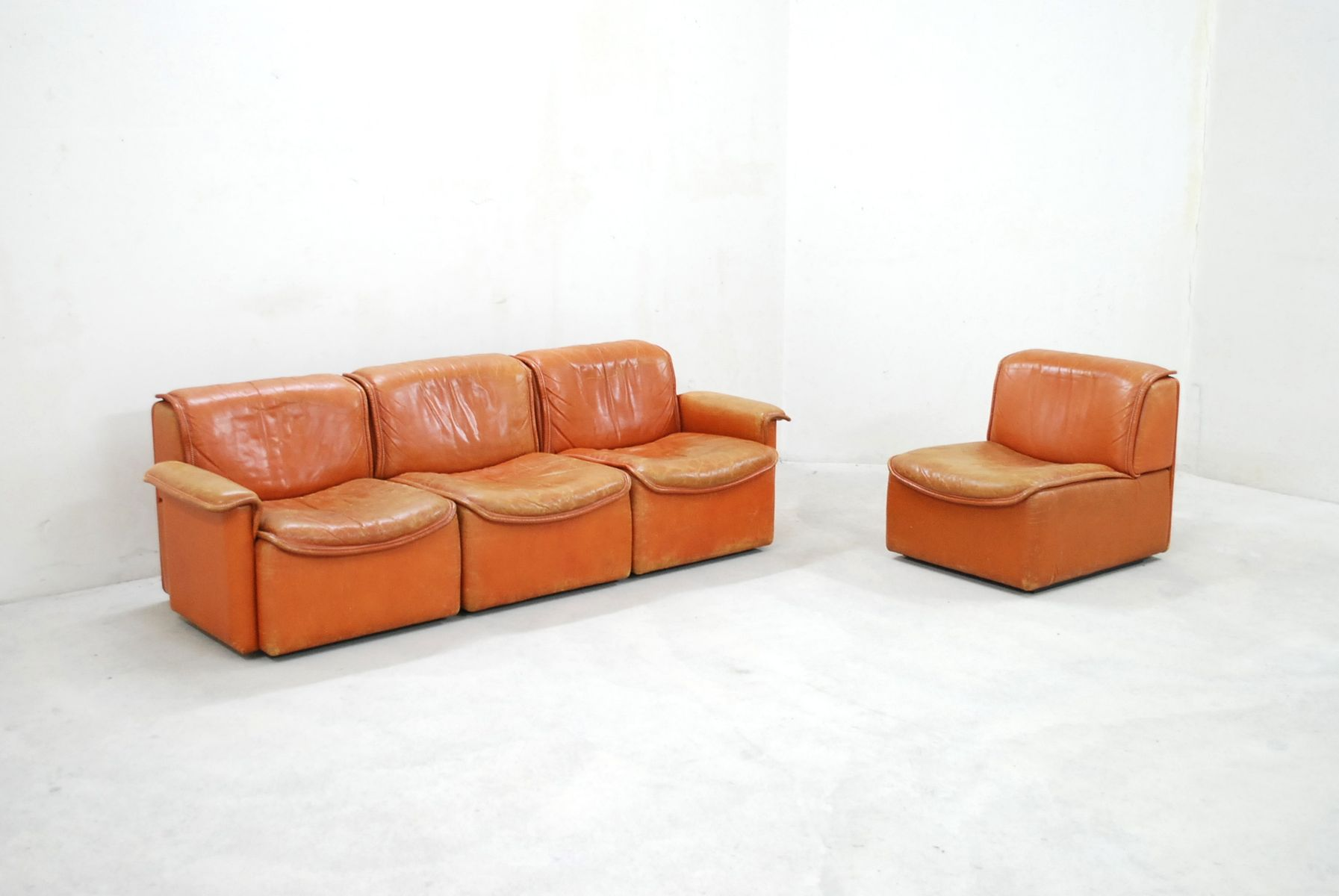 DS-12 Modular Cognac Leather Sofa From De Sede, 1980