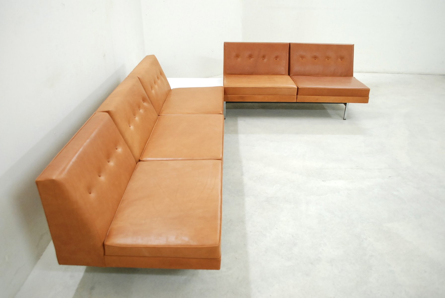 Cognac Leather Modular Sofa Set by George Nelson for Herman Miller