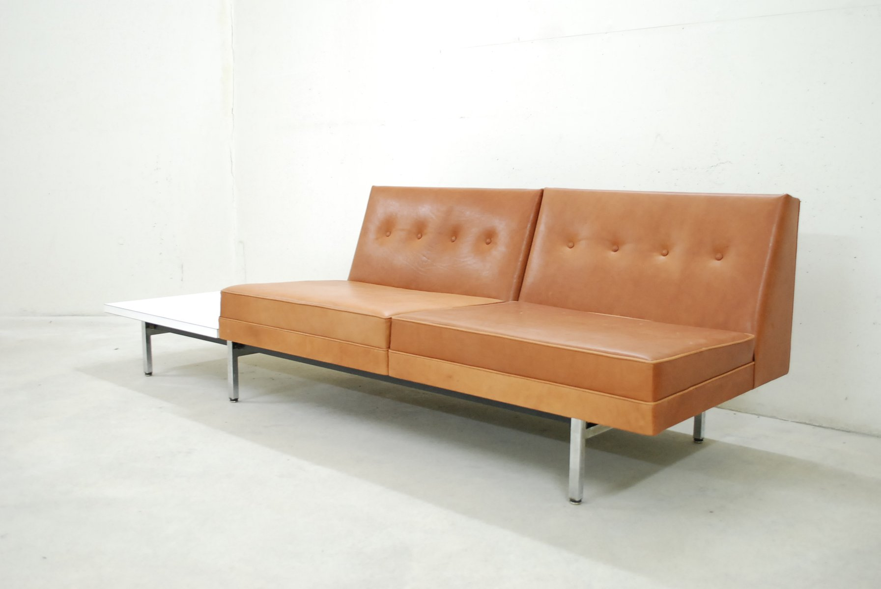 cognac leather modular sofa set by george nelson for. Black Bedroom Furniture Sets. Home Design Ideas