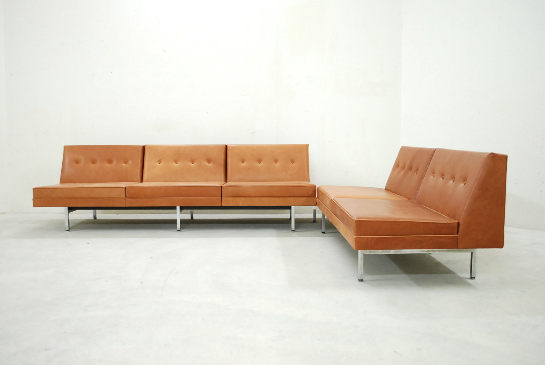 cognac leather modular sofa set by george nelson for herman miller 1968 for sale at pamono. Black Bedroom Furniture Sets. Home Design Ideas