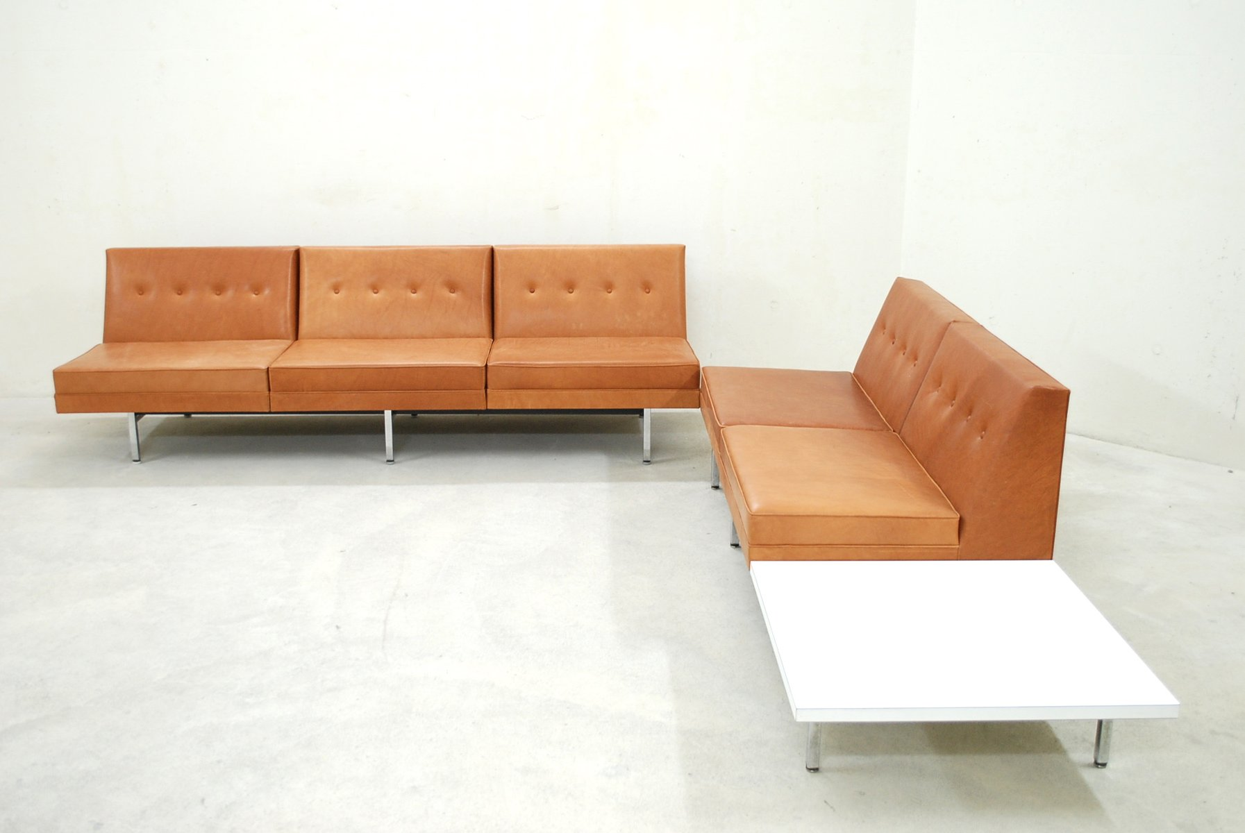 cognac leather modular sofa set by george nelson for herman miller  - cognac leather modular sofa set by george nelson for herman miller