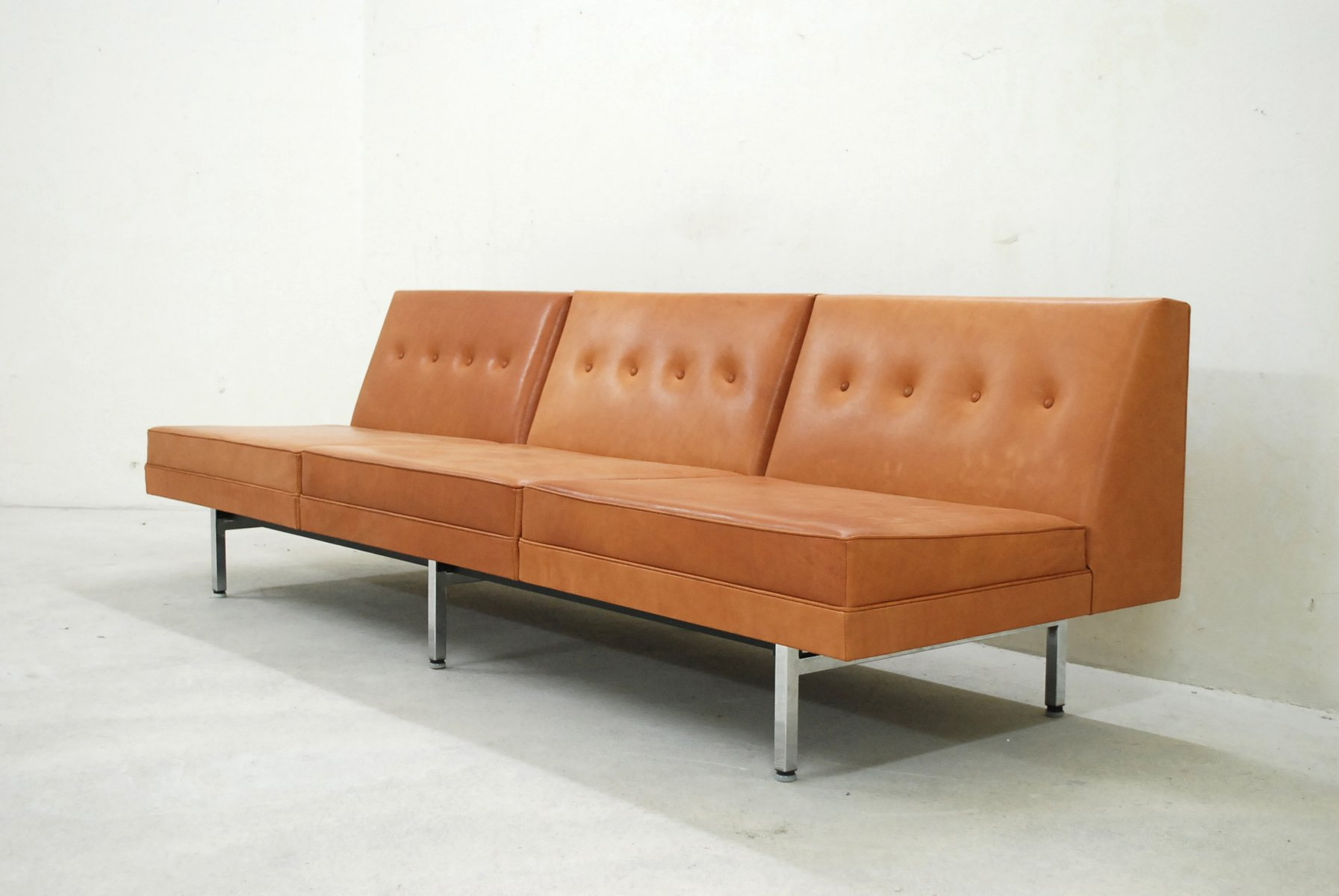 Cognac Leather Modular Sofa Set By George Nelson For