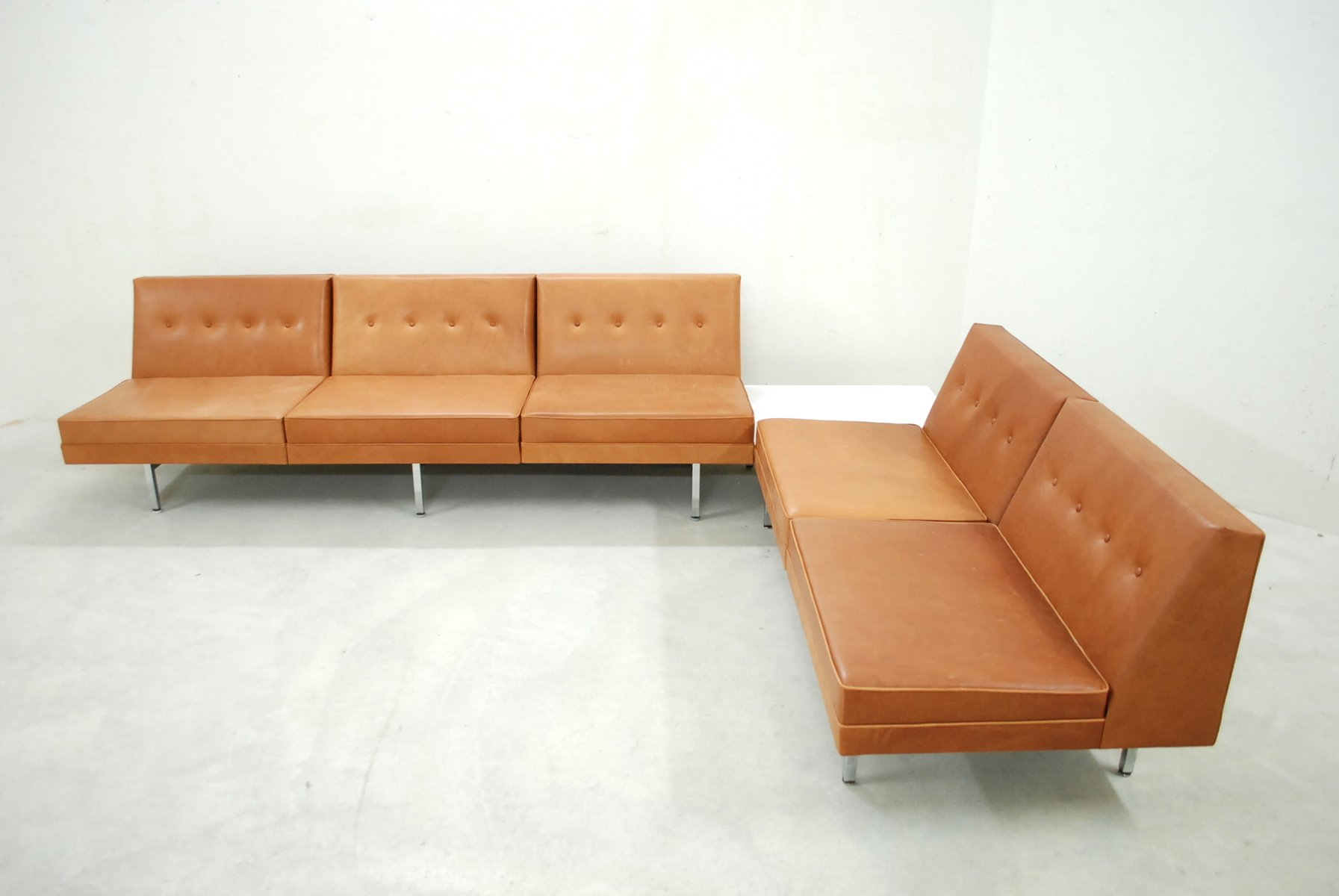 Cognac Leather Modular Sofa Set By George Nelson For Herman Miller 1968 For Sale At Pamono