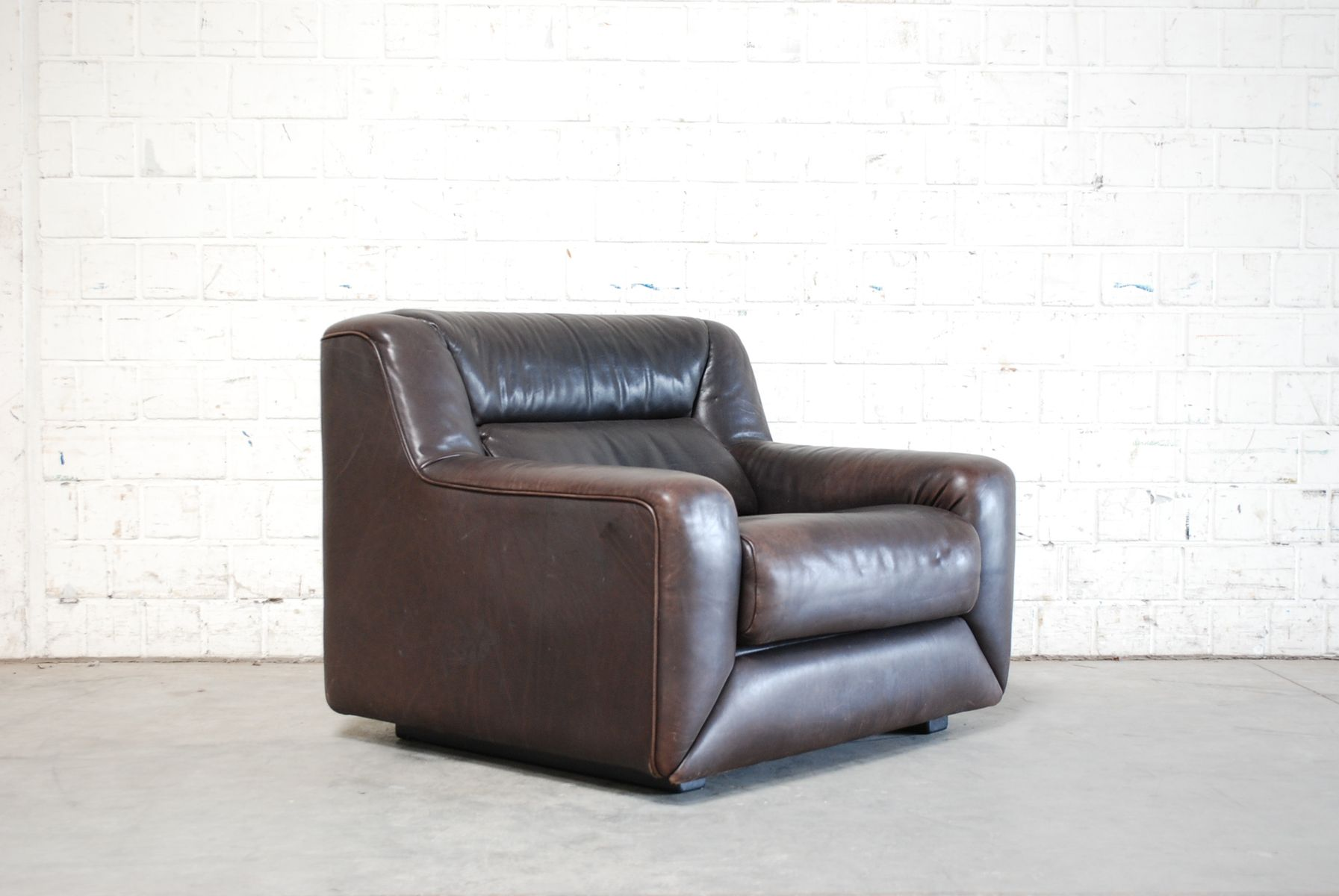 DS 43 Brown Leather Club Chair from De Sede 1985 for sale at Pamono