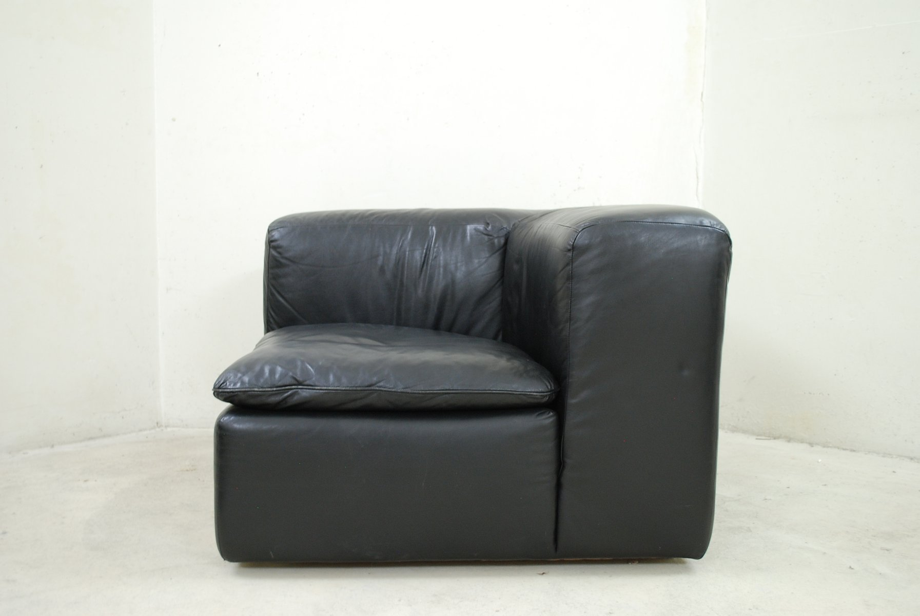 Modular Black Cube Design WK 550 Leather Sofa by Ernst Martin