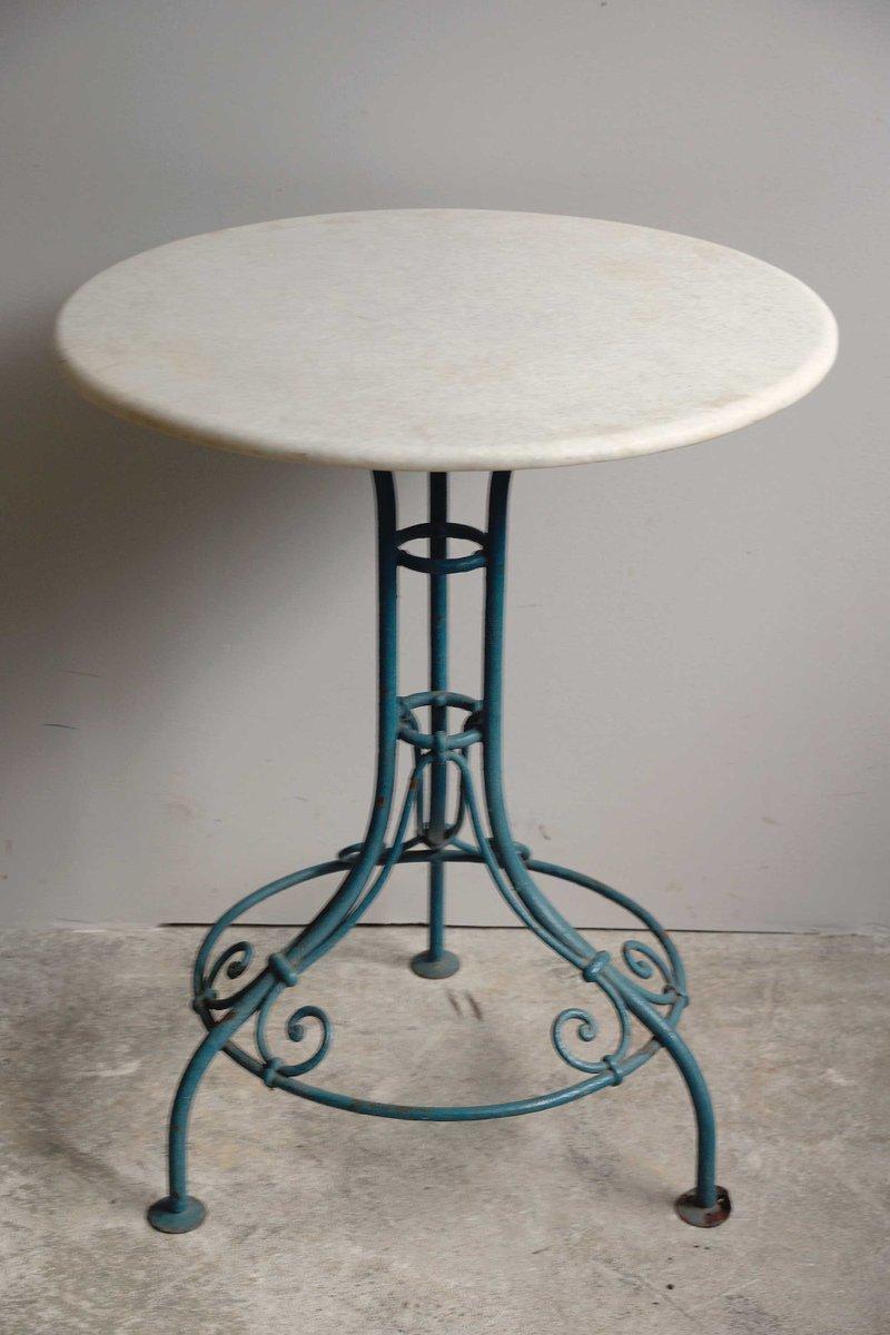 Table de jardin en fer forg avec plateau en marbre 1870s - Table de jardin en fer ...