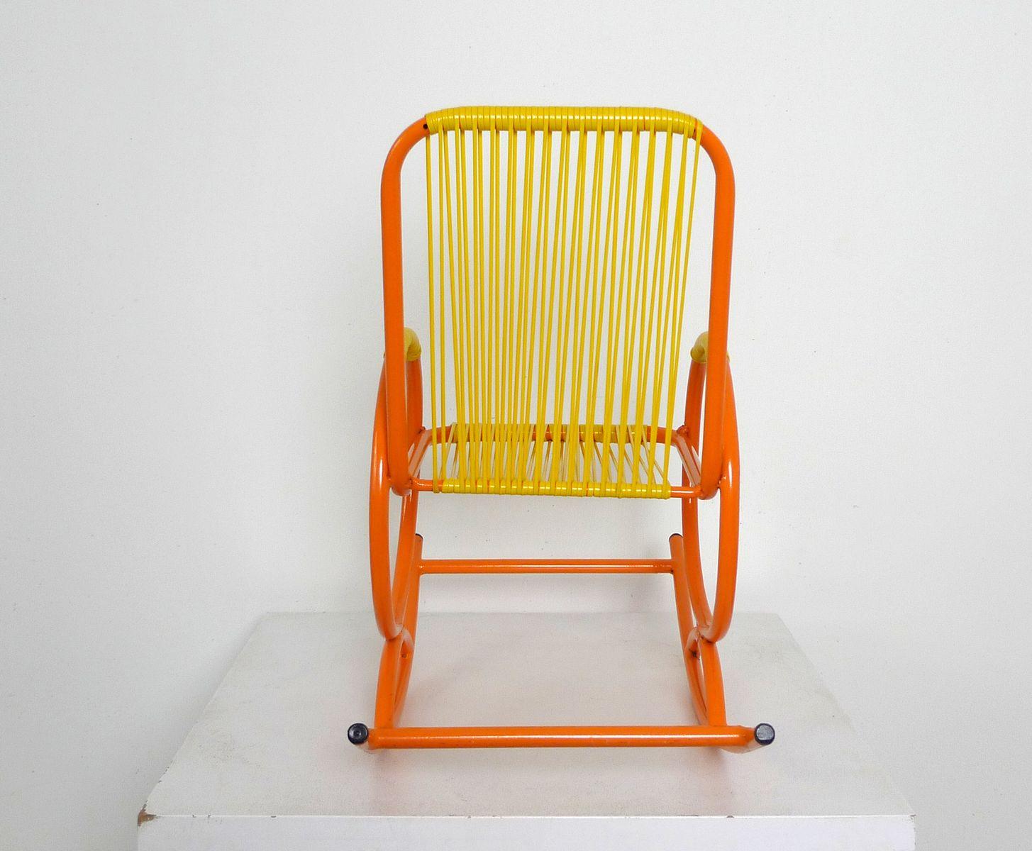 Italian orange children 39 s rocking chair for sale at pamono for Orange kids chair